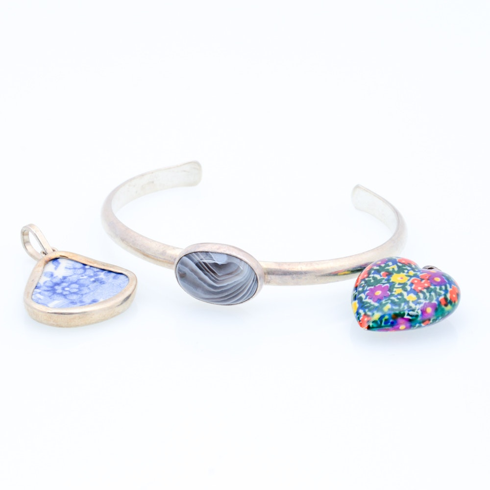 Sterling Silver Enamel and Agate Jewelry