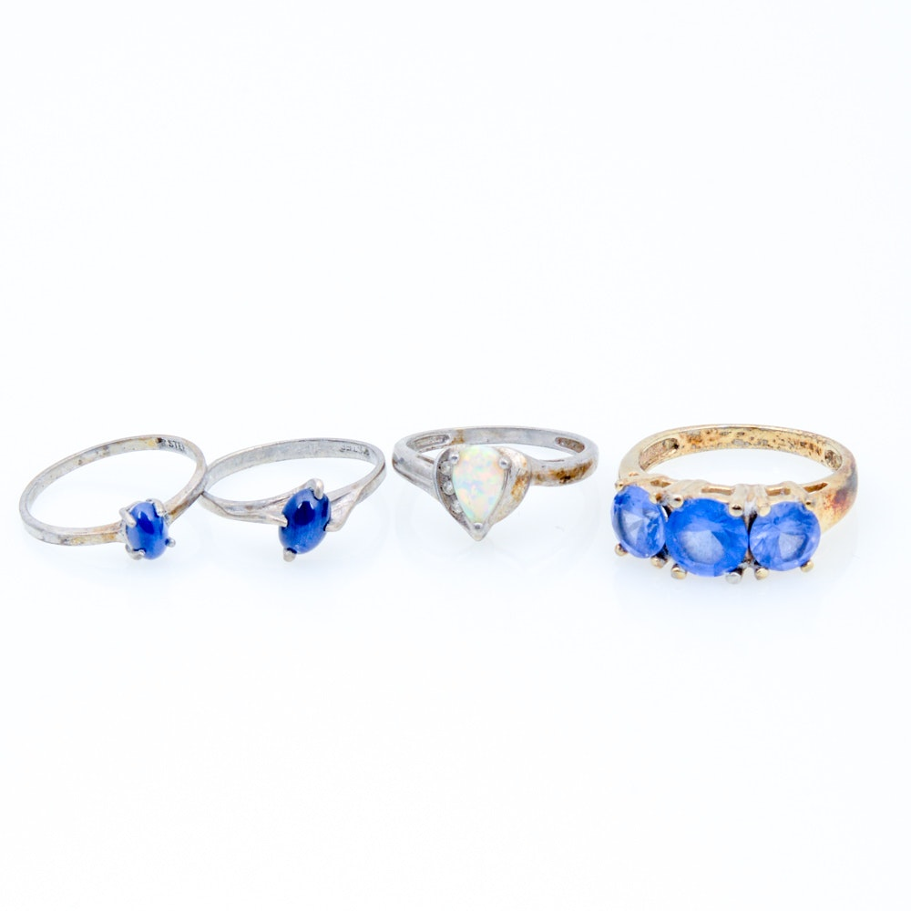 Sterling Silver Synthetic Stone Rings