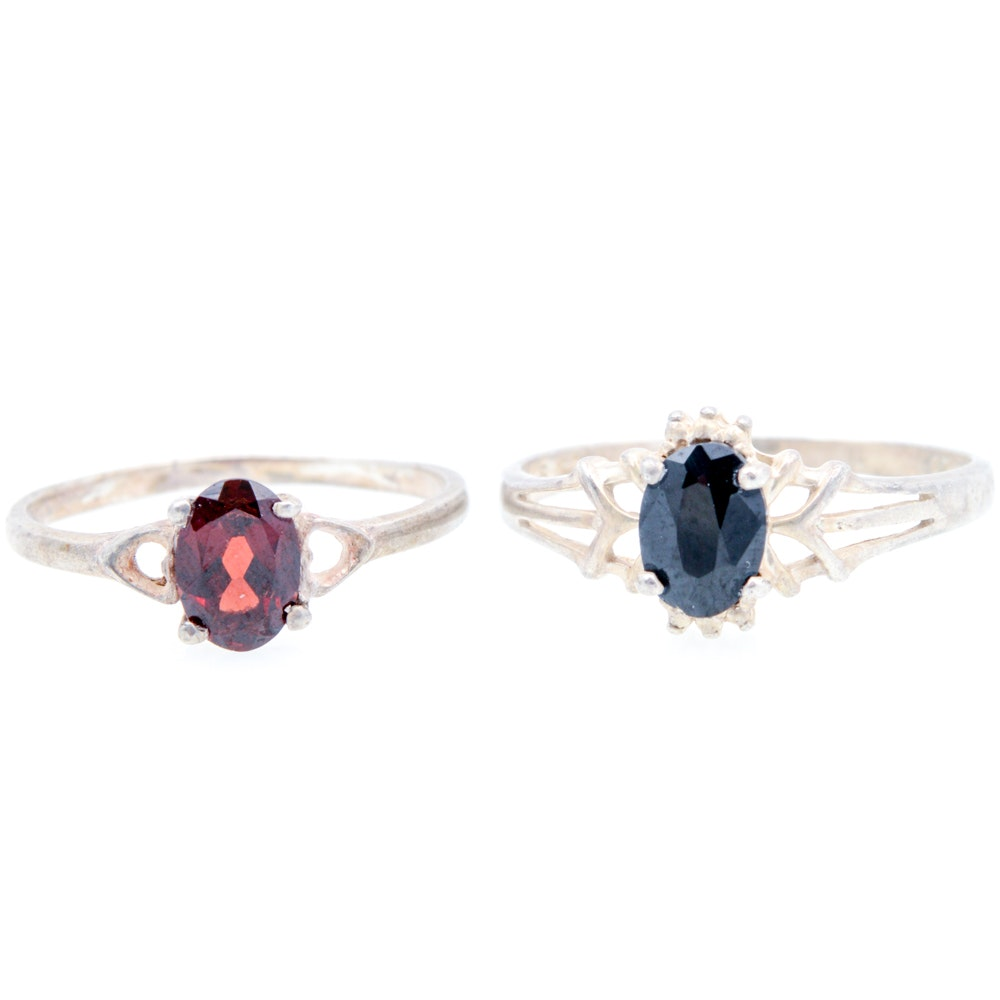 Sterling Silver Garnet and Sapphire Rings