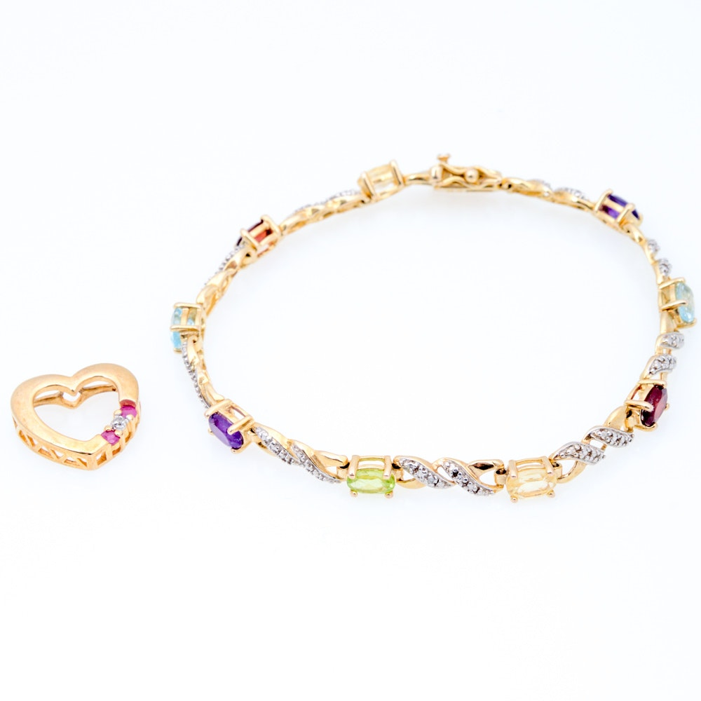 Gold Plated Sterling Silver Diamond and Semi Precious Stone Jewelry