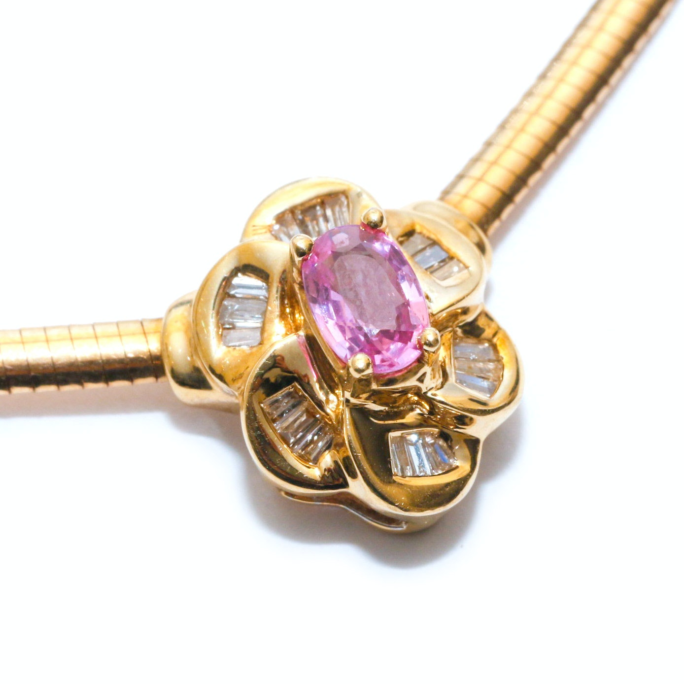 14K Yellow Gold Pink Sapphire and Diamond Floral Necklace