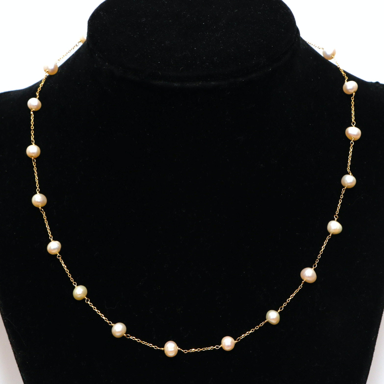 14K Yellow Gold Freshwater Pearl Station Necklace