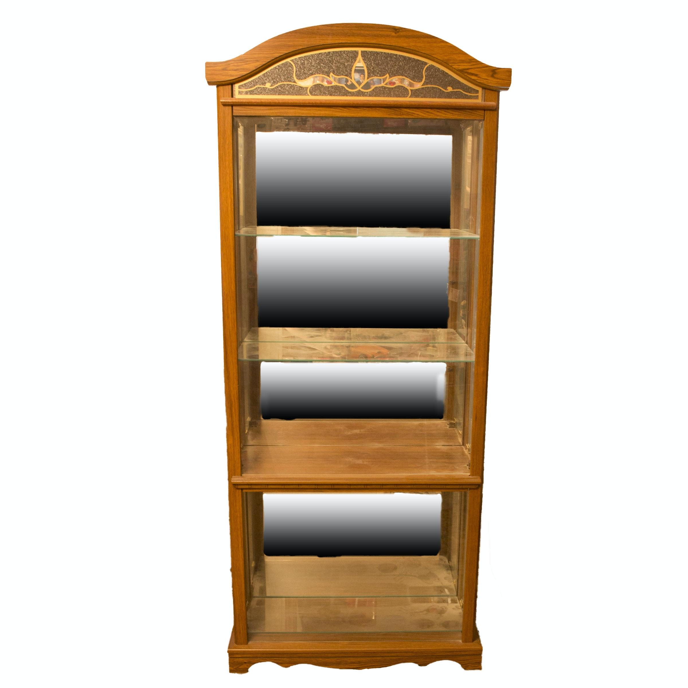 Mirrored Four-Shelf Curio Cabinet