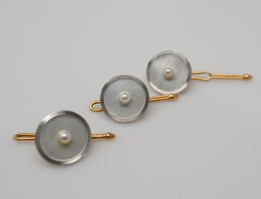 Three Vintage 14K Yellow Gold Mother of Pearl Shirt Studs by Krementz