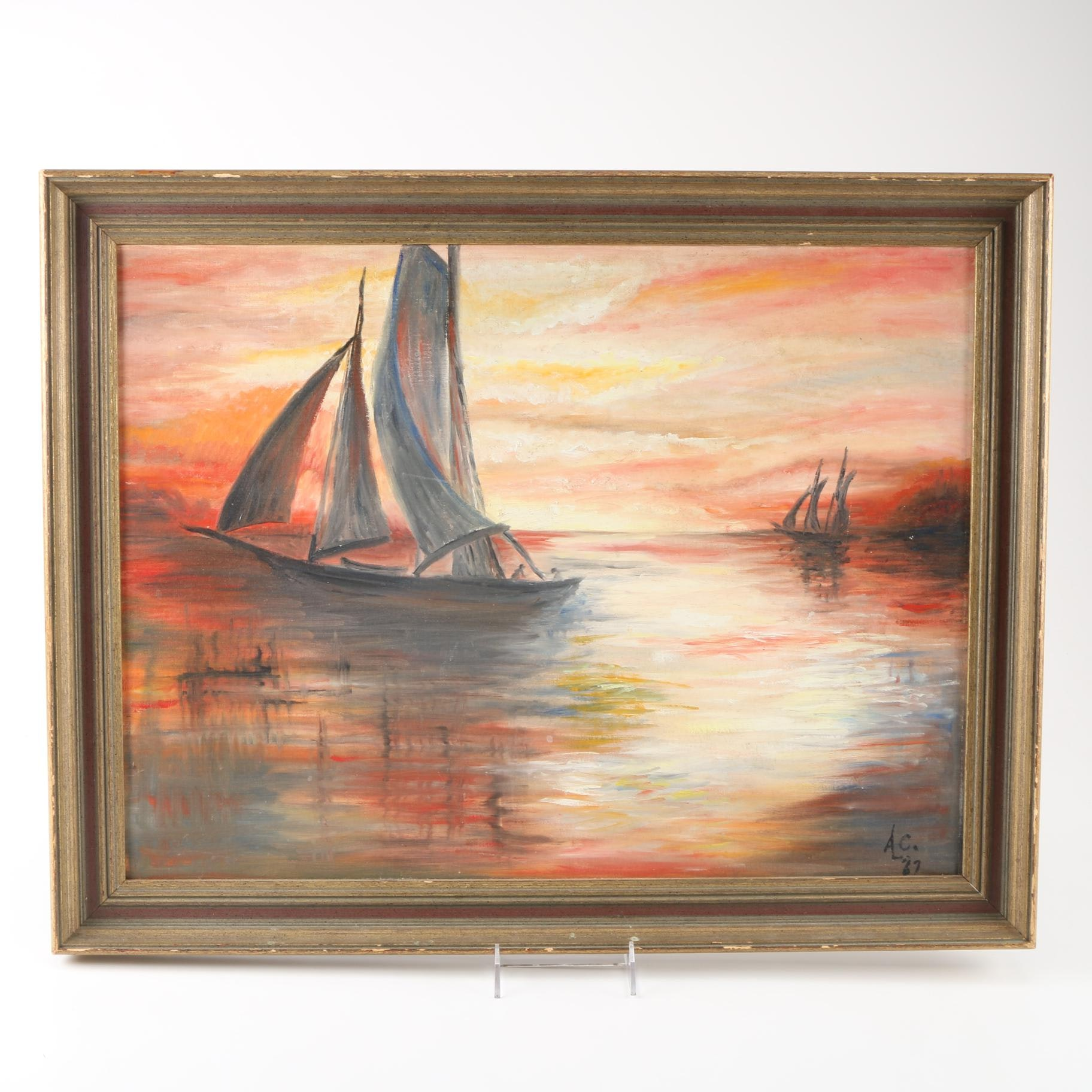Annie Laurie Crouch Original Oil Painting of Sailboats