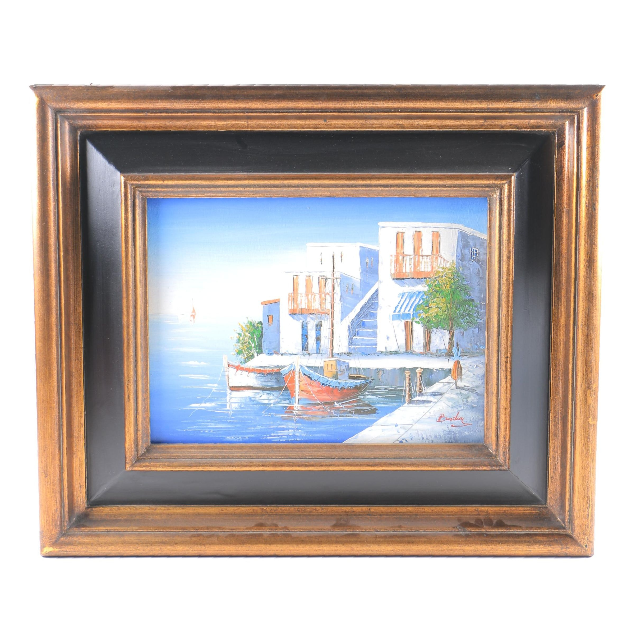 Basilioy Oil Painting on Canvas of Villa Dock