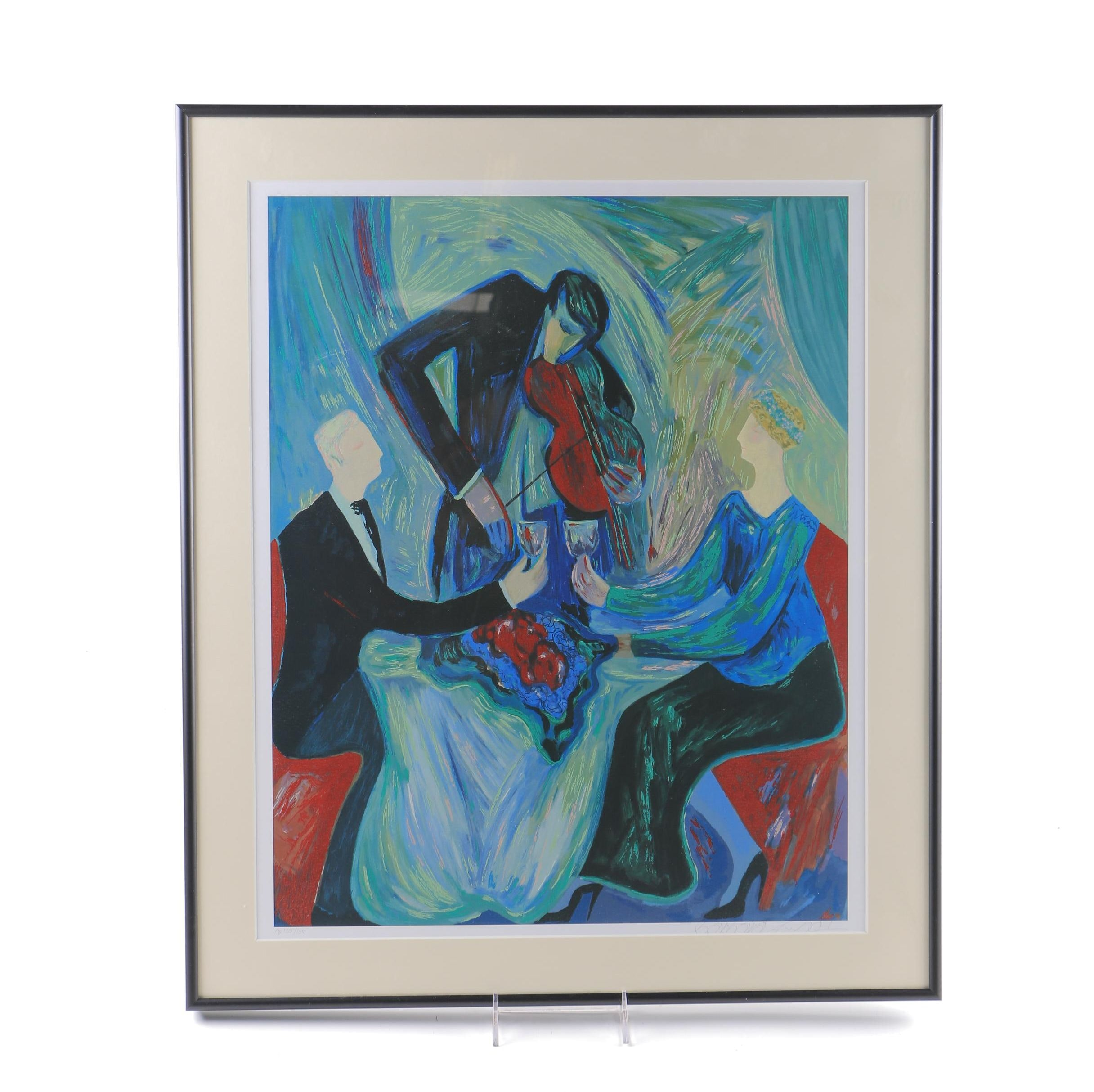 """Barbara A. Wood Limited Edition Embellished Offset Lithograph """"Dinner For Two"""""""