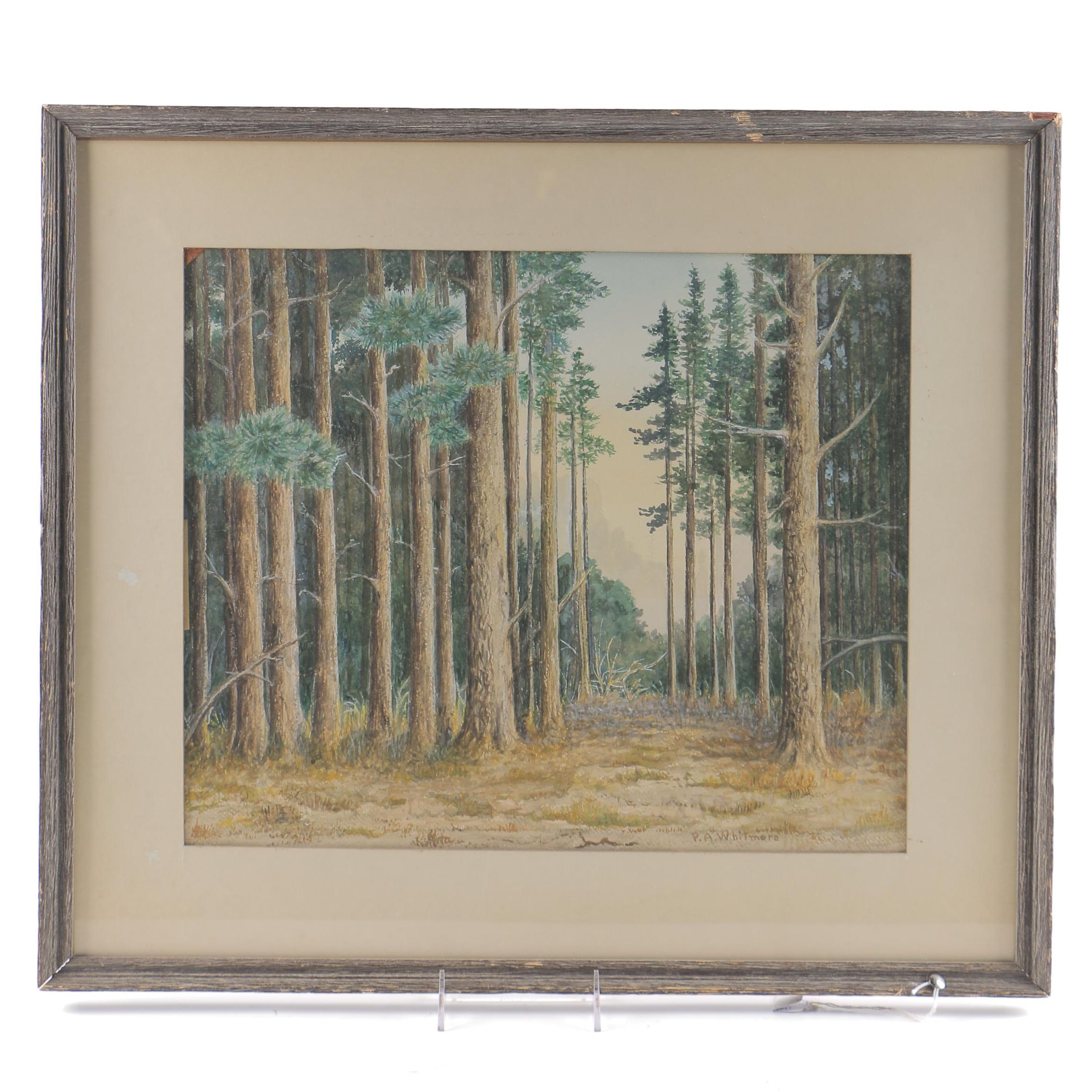 P. A. Whitmore Watercolor Painting of a Landscape Scene