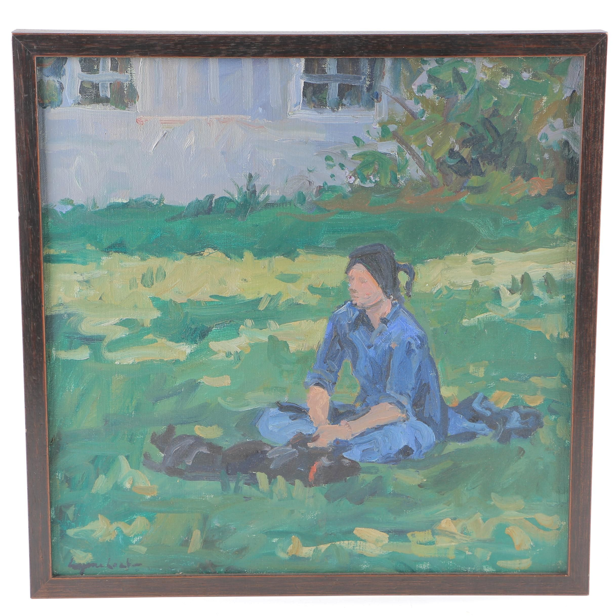 Oil Painting on Canvas of Woman With Dog