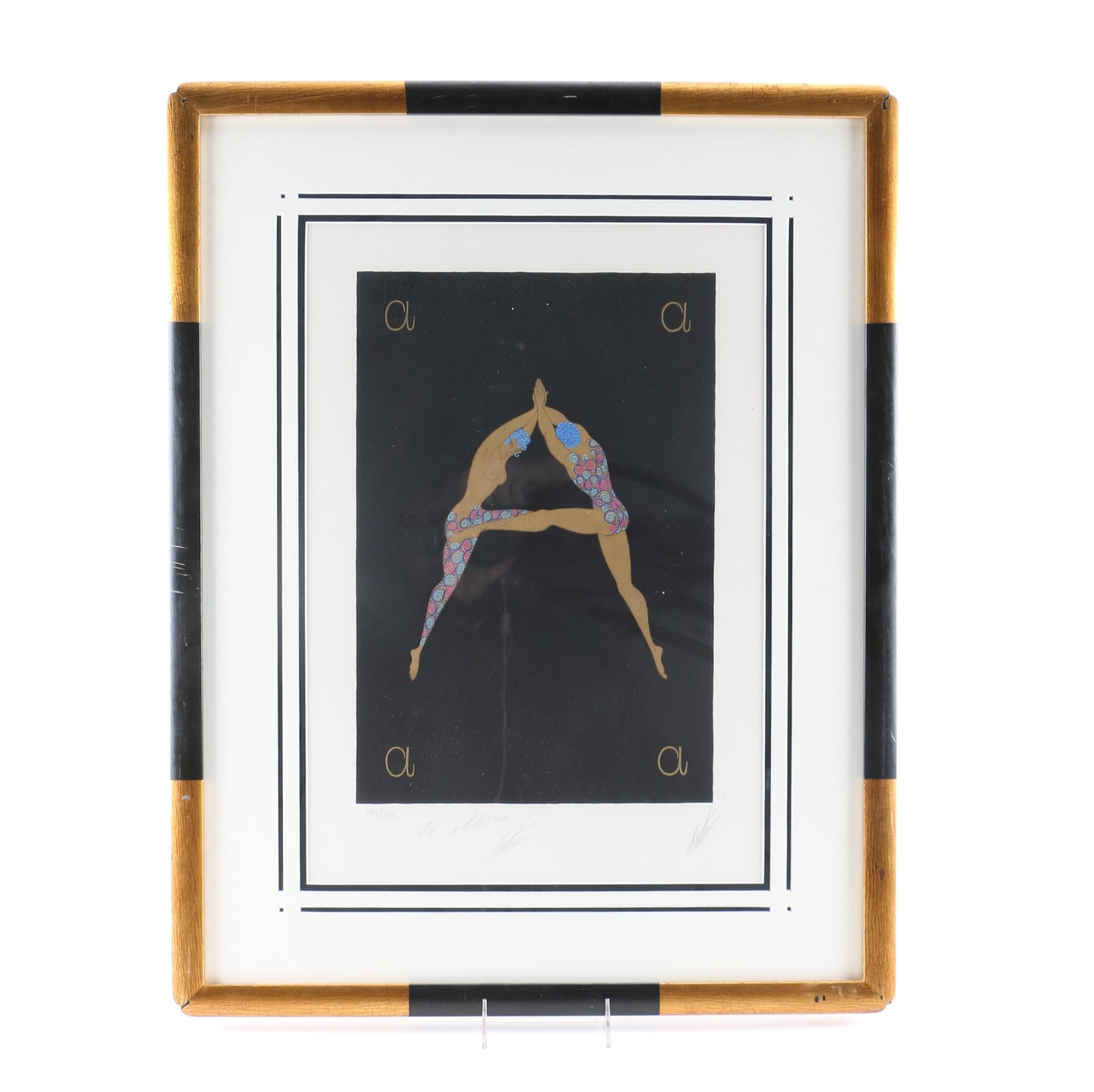 """Erte Signed Limited Edition Serigraph on Paper Letter """"A"""" from """"The Alphabet Suite"""""""