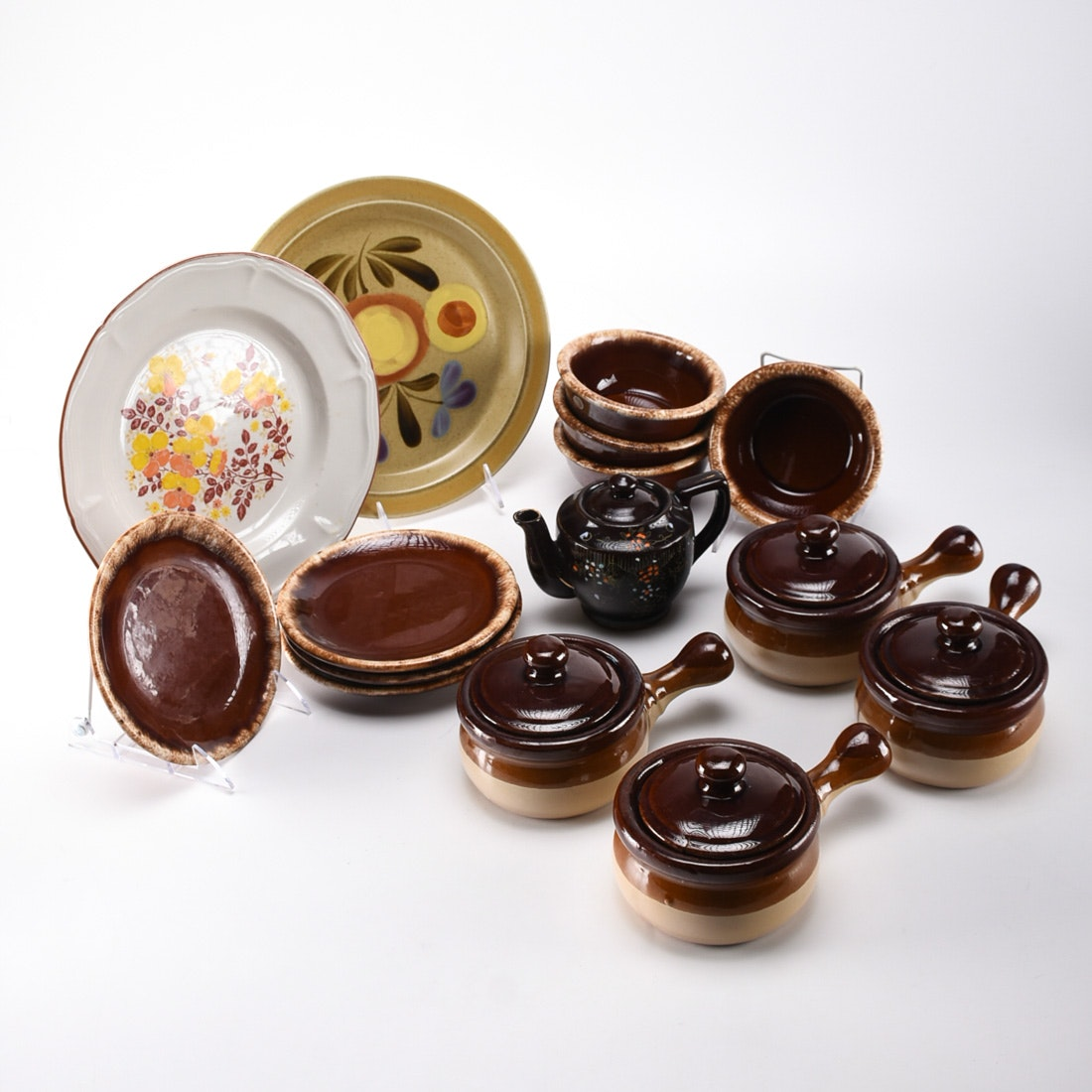 Collection of 1970s Era Dishes Including Hull Brown Drip Pottery and Onion Soup Bowls