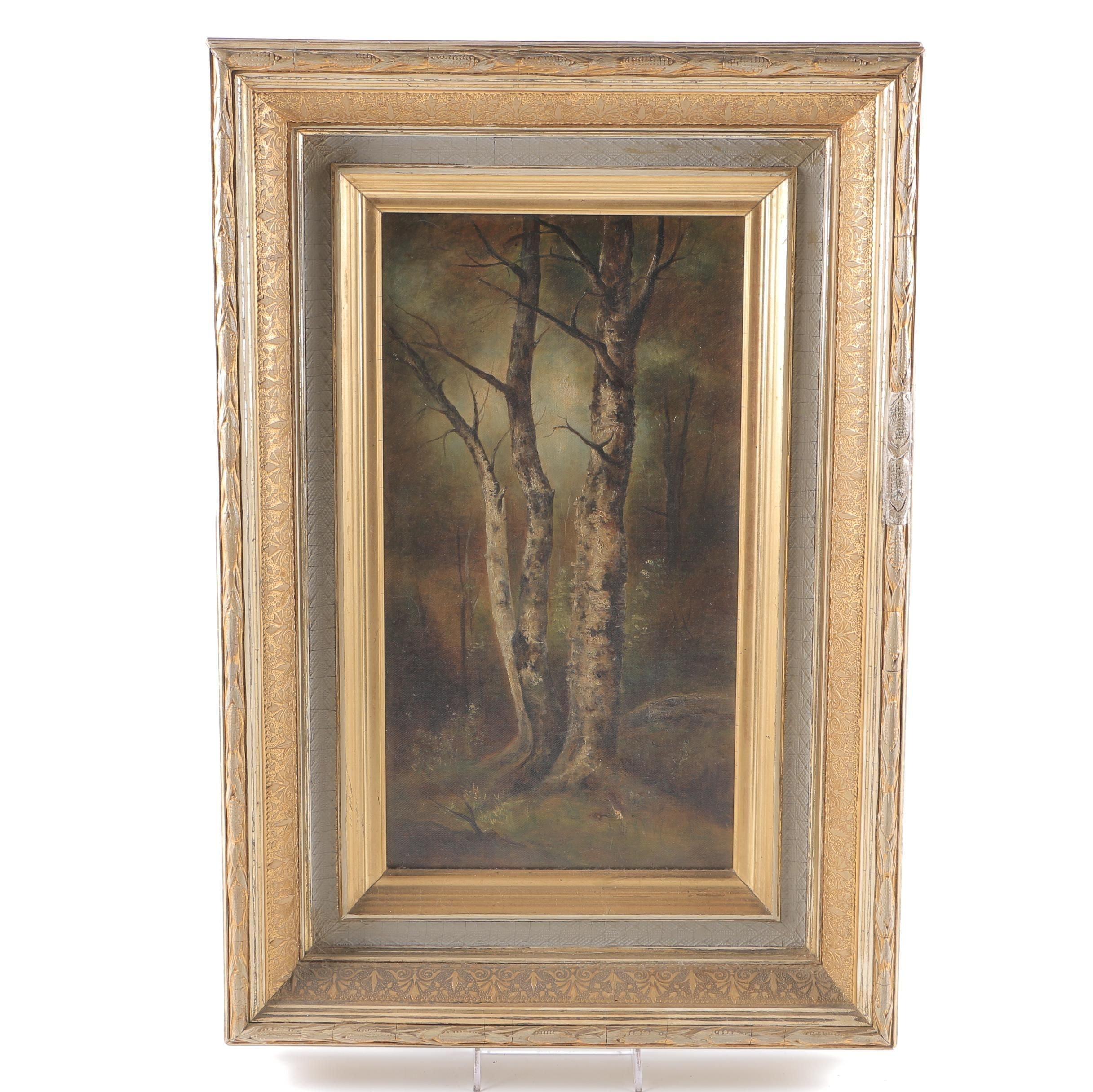 Original Oil on Canvas Painting of Woodland Scene