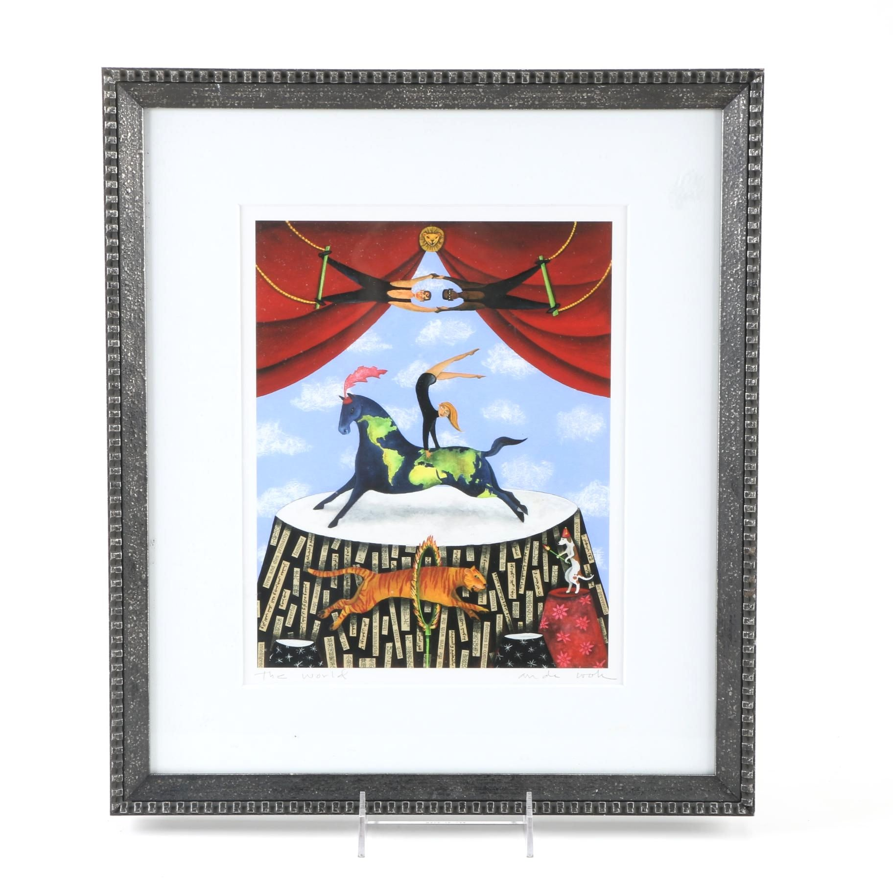 """Signed Limited Edition """"The World"""" Offset Lithograph"""