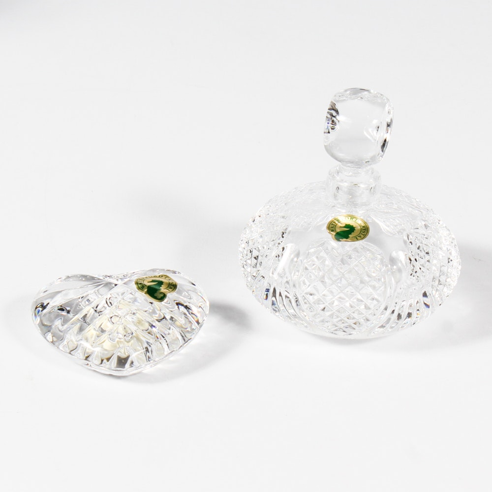 "Waterford Crystal ""Wedding Heirloom"" Heart Hand Cooler and Perfume Bottle"