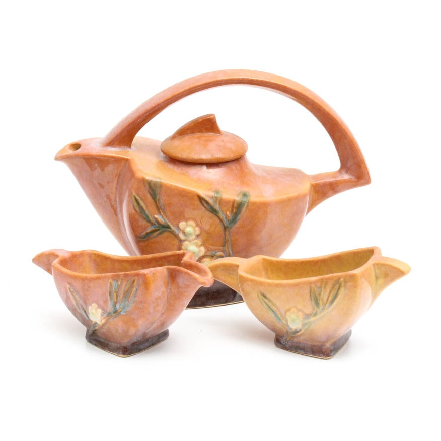 "Roseville Pottery ""Wincraft"" Three Piece Tea Set"