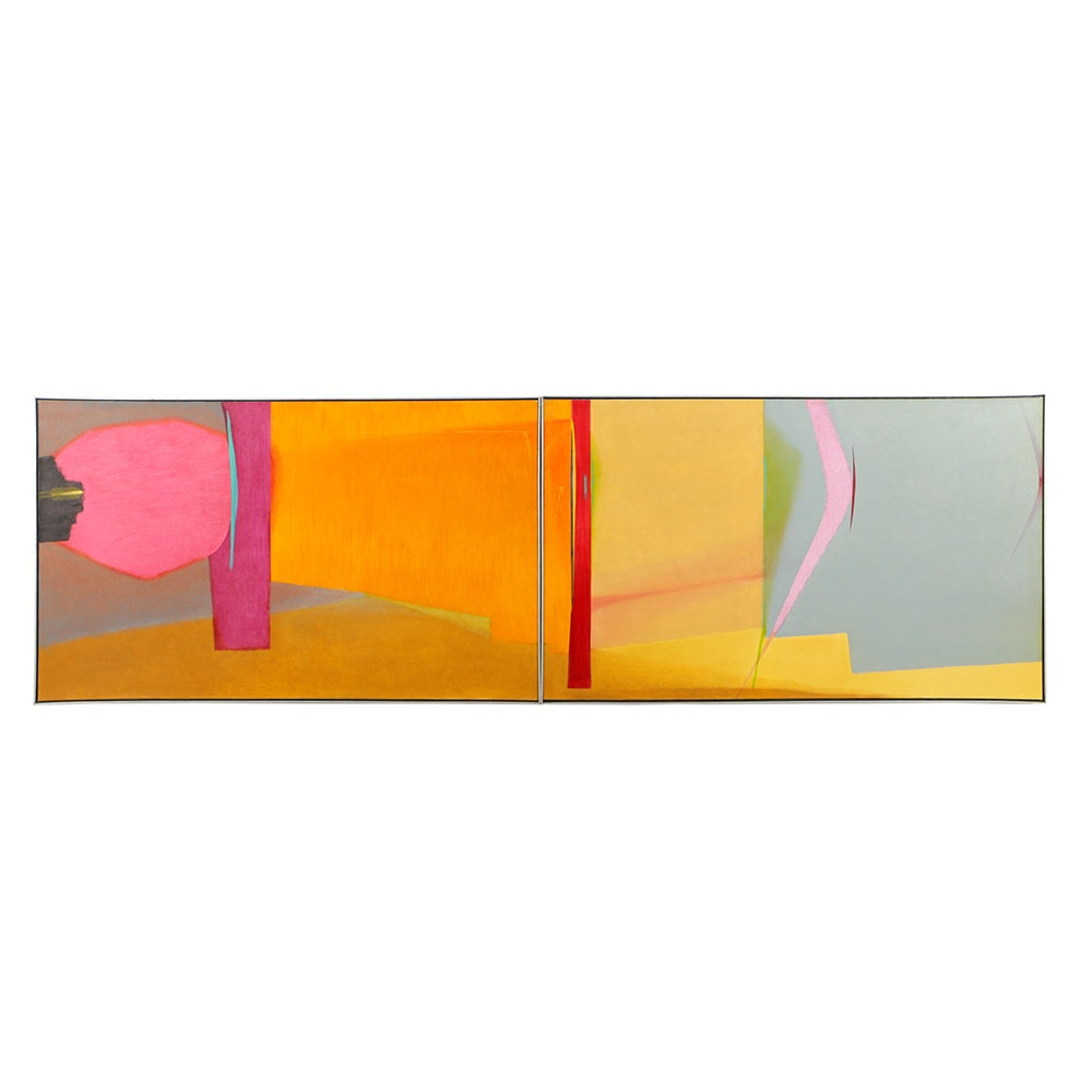 "Beth Hertz Oil Painting Diptych ""Projectile"""