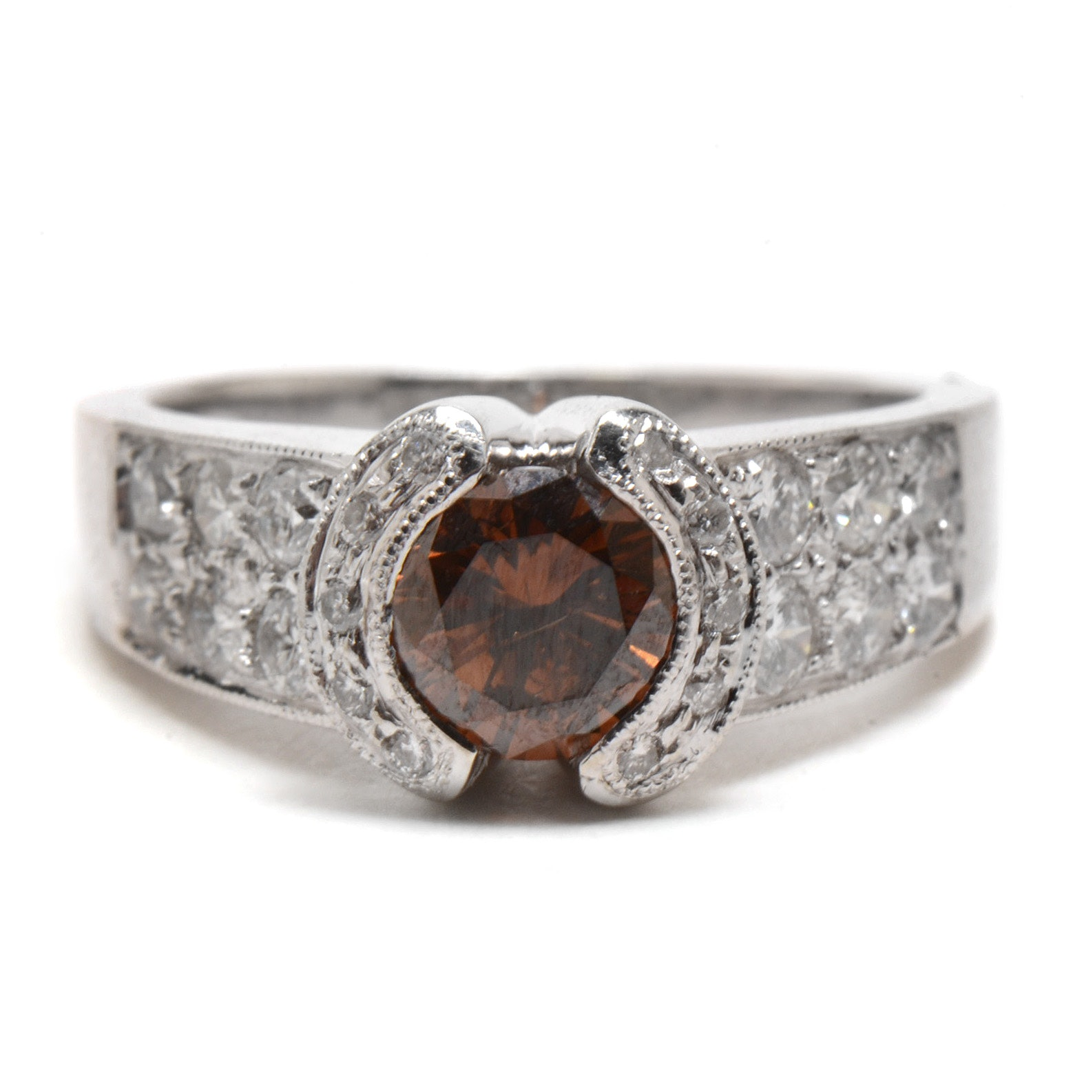14K White Gold Synthetic Brown Diamond Ring