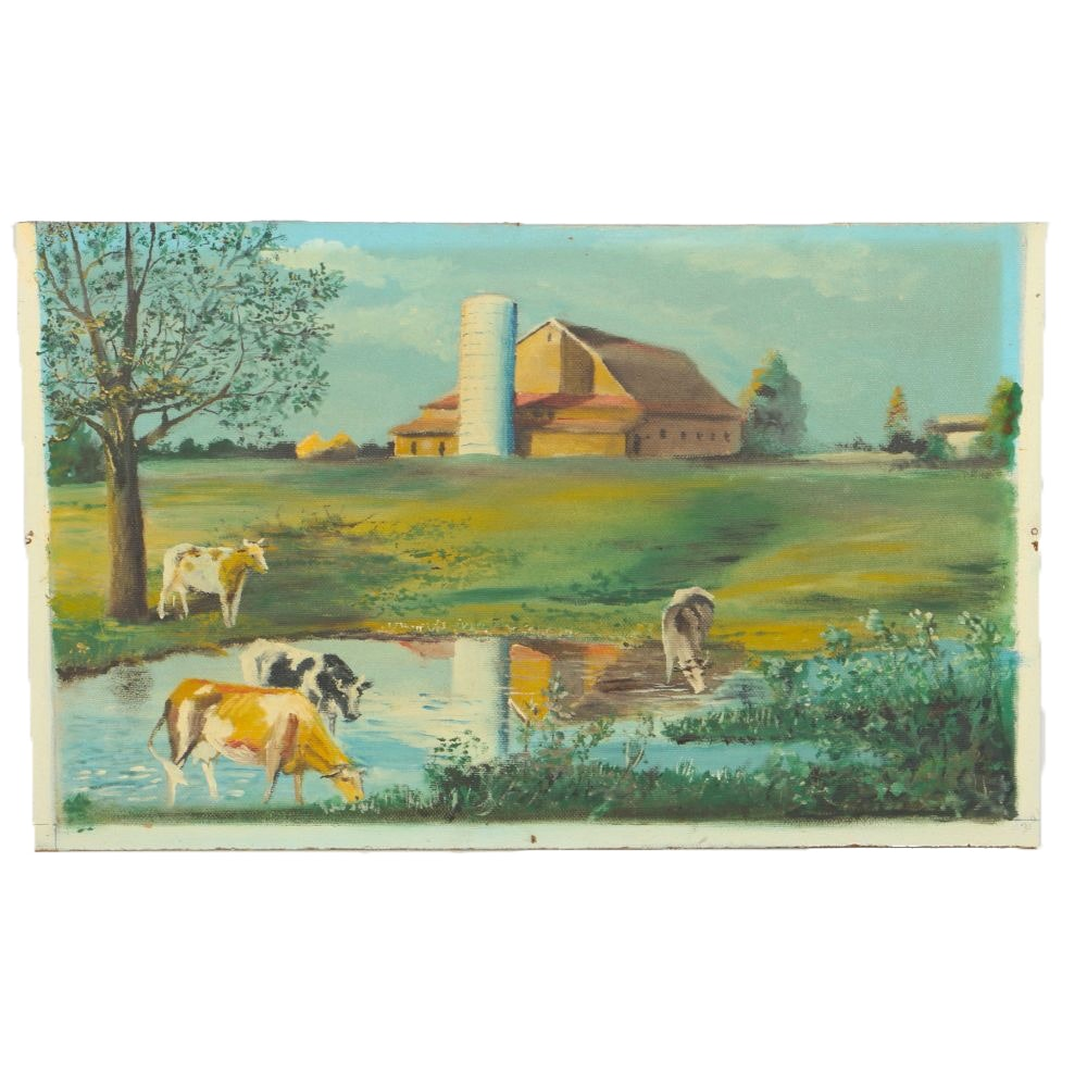 """Grandma"" Alice Carey Whitlatch 1960s Oil on Board of Farm Scene"