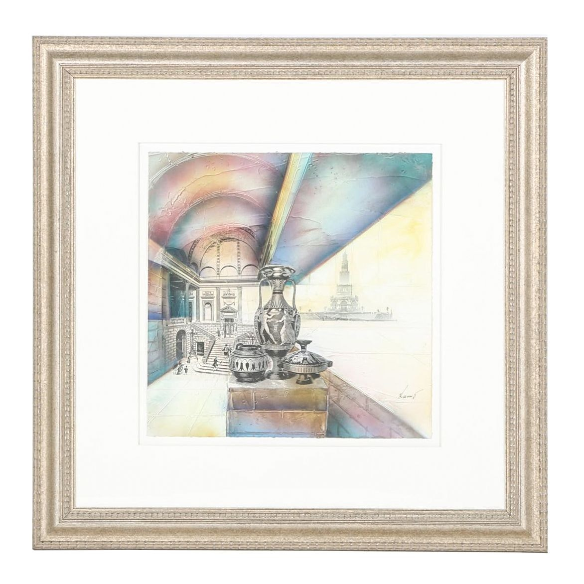 Framed Mixed Media Lithograph