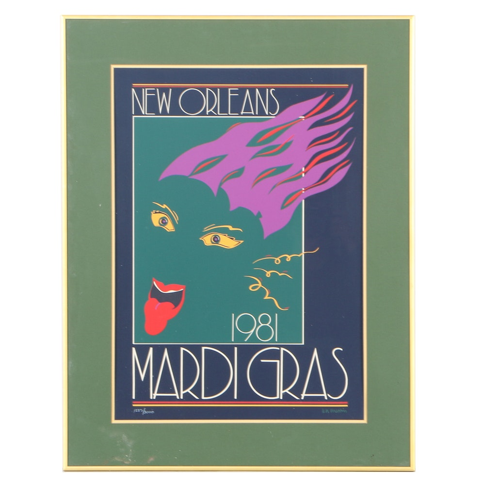 """K.N. Martin Limited Edition Serigraph on Paper """"New Orleans, Mardi Gras 1981"""""""