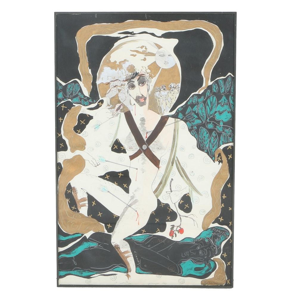 "Jaff Noel Seijas Original Mixed Media Painting ""St. Sebastian"""