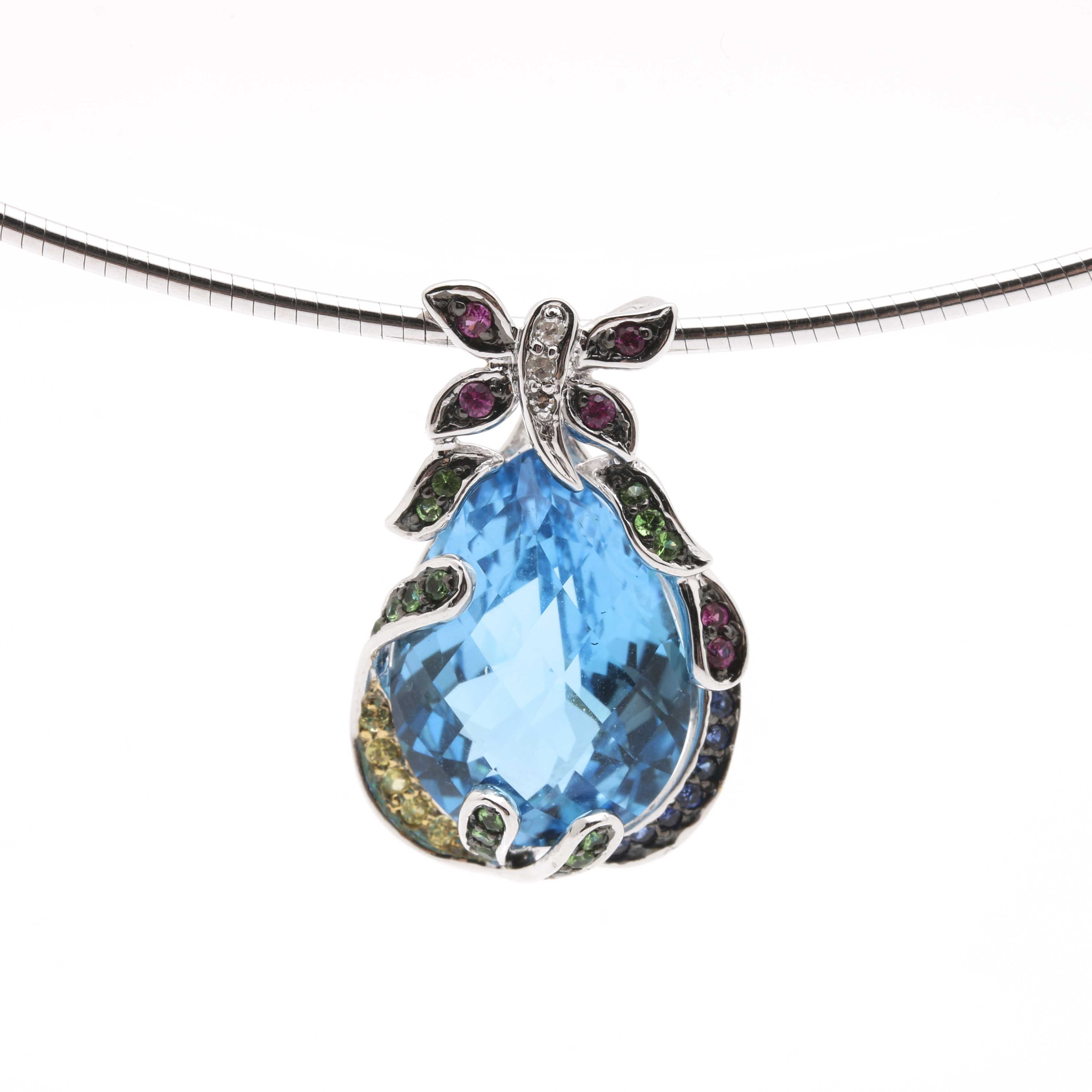 14K White Gold Omega Chain Necklace With Diamond and Gemstone Pendant