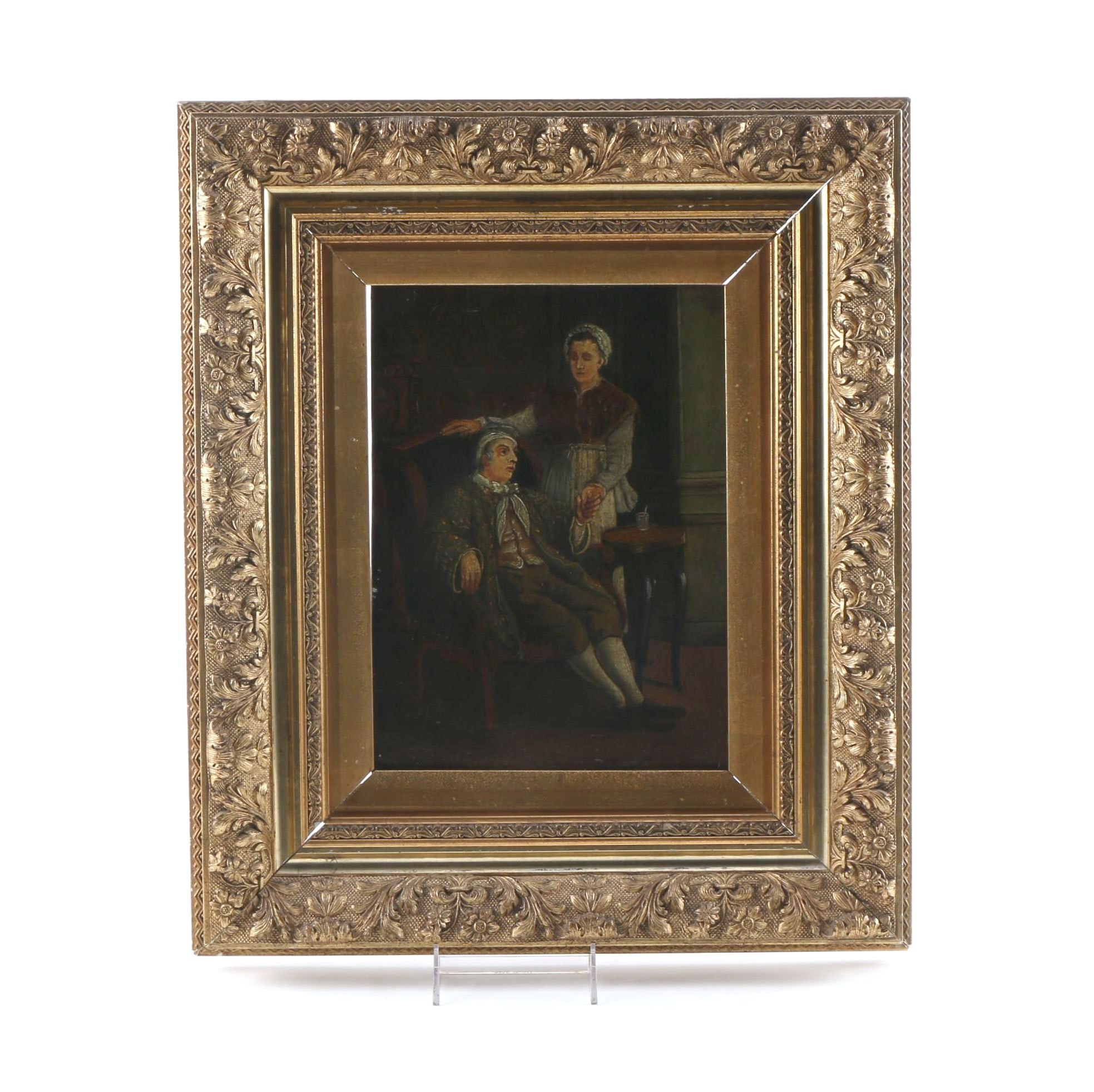 Original Oil on Board of Two Figures in Gilt Wood Frame