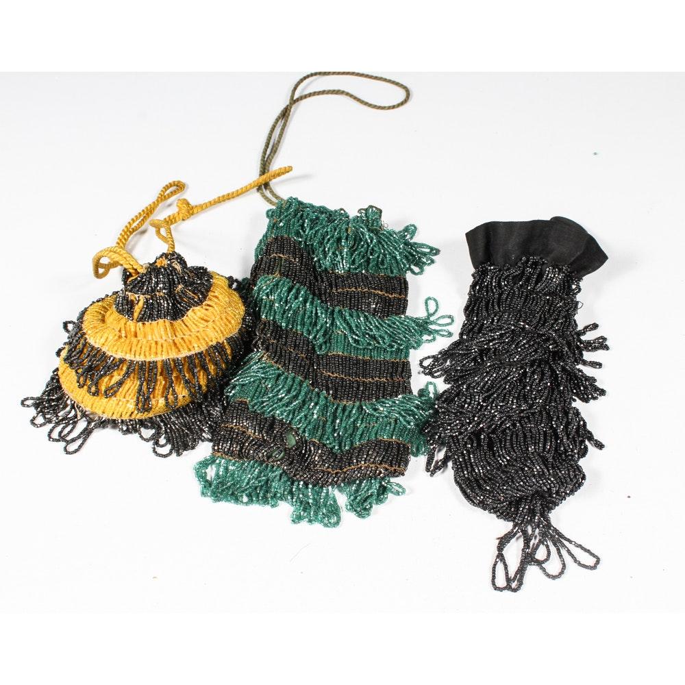 Vintage Beaded Drawstring Handbags
