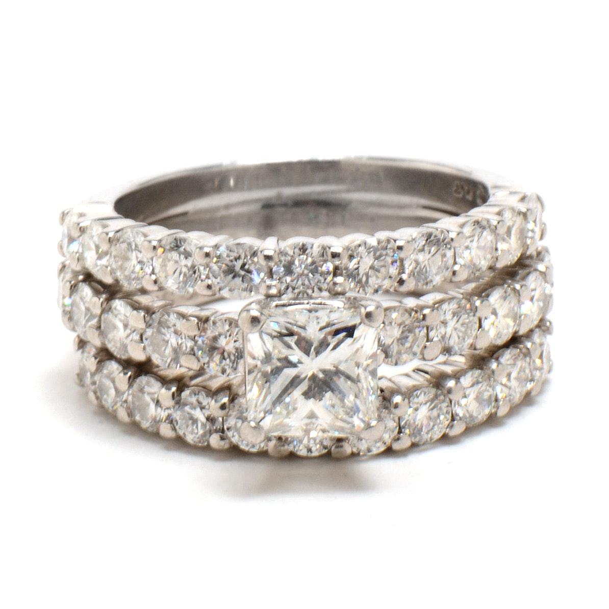 Platinum 3.18CTW Diamond Soldered Three Ring Set