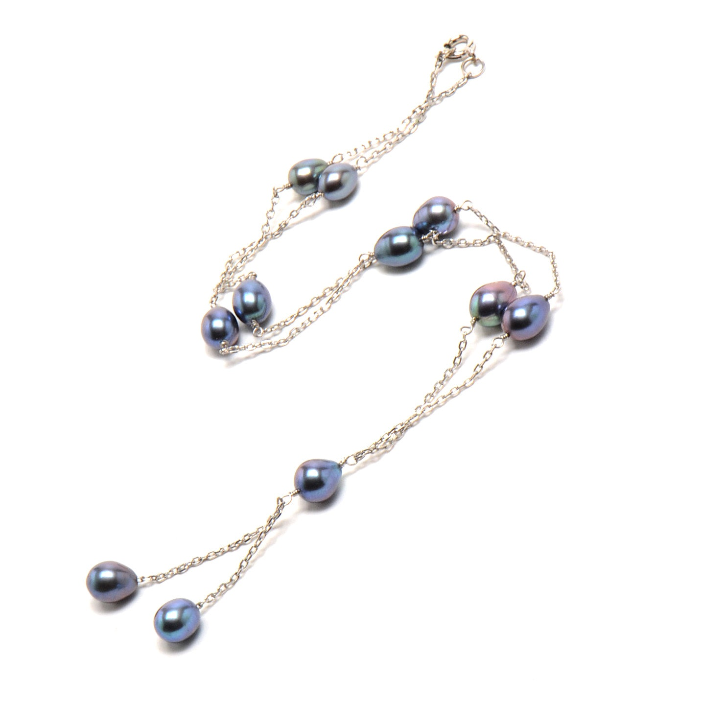 Sterling Silver Dyed Black Freshwater Pearl Drop Necklace