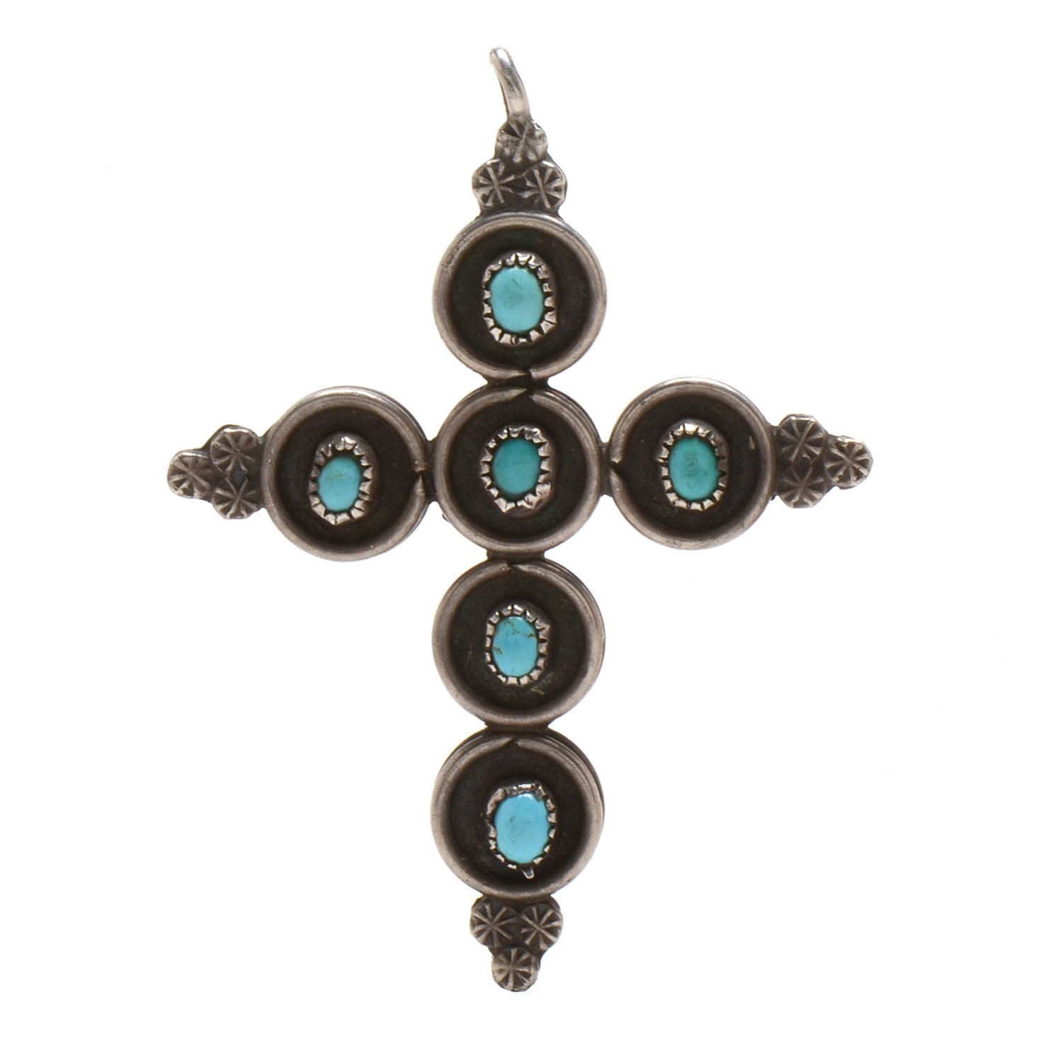 Sterling Silver Turquoise and Coral Reversible Cross Pendant