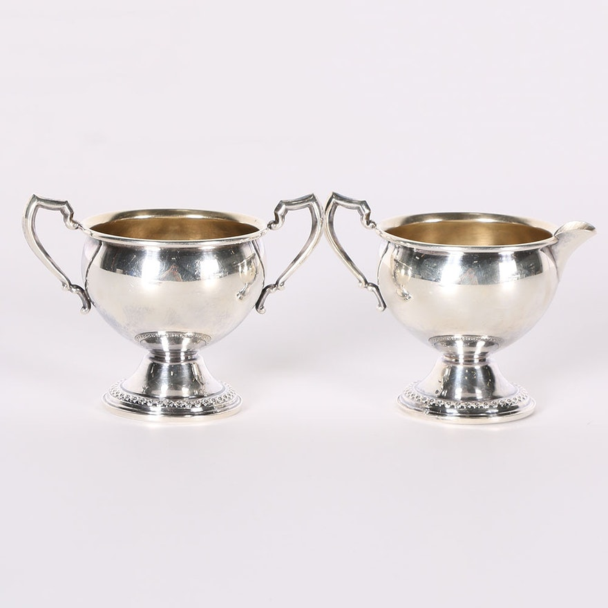 Rogers Weighted Sterling Silver Sugar and Creamer : EBTH