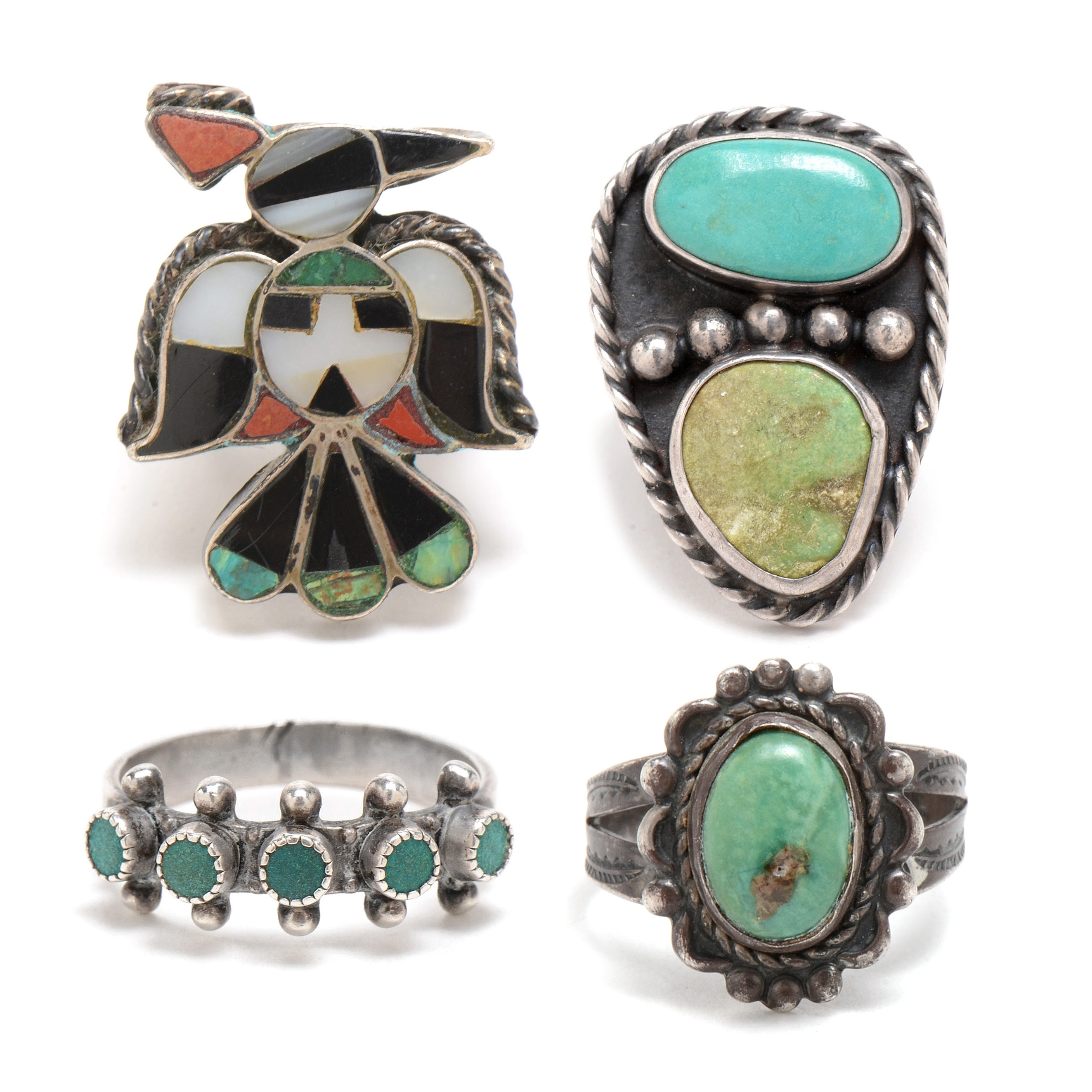 Assortment of Sterling Silver Turquoise Rings