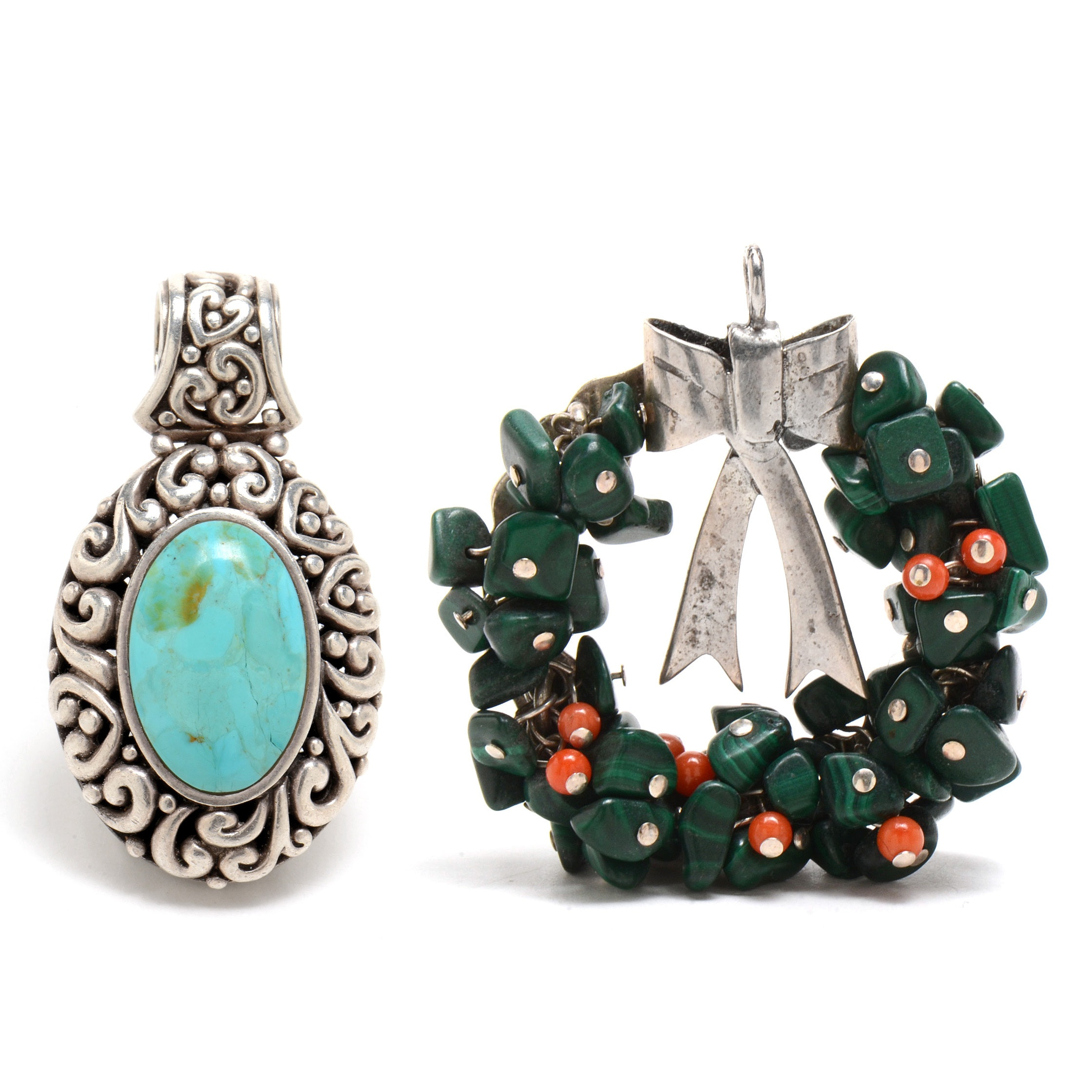 Sterling Silver Turquoise Pendant and Malachite Coral Pendant