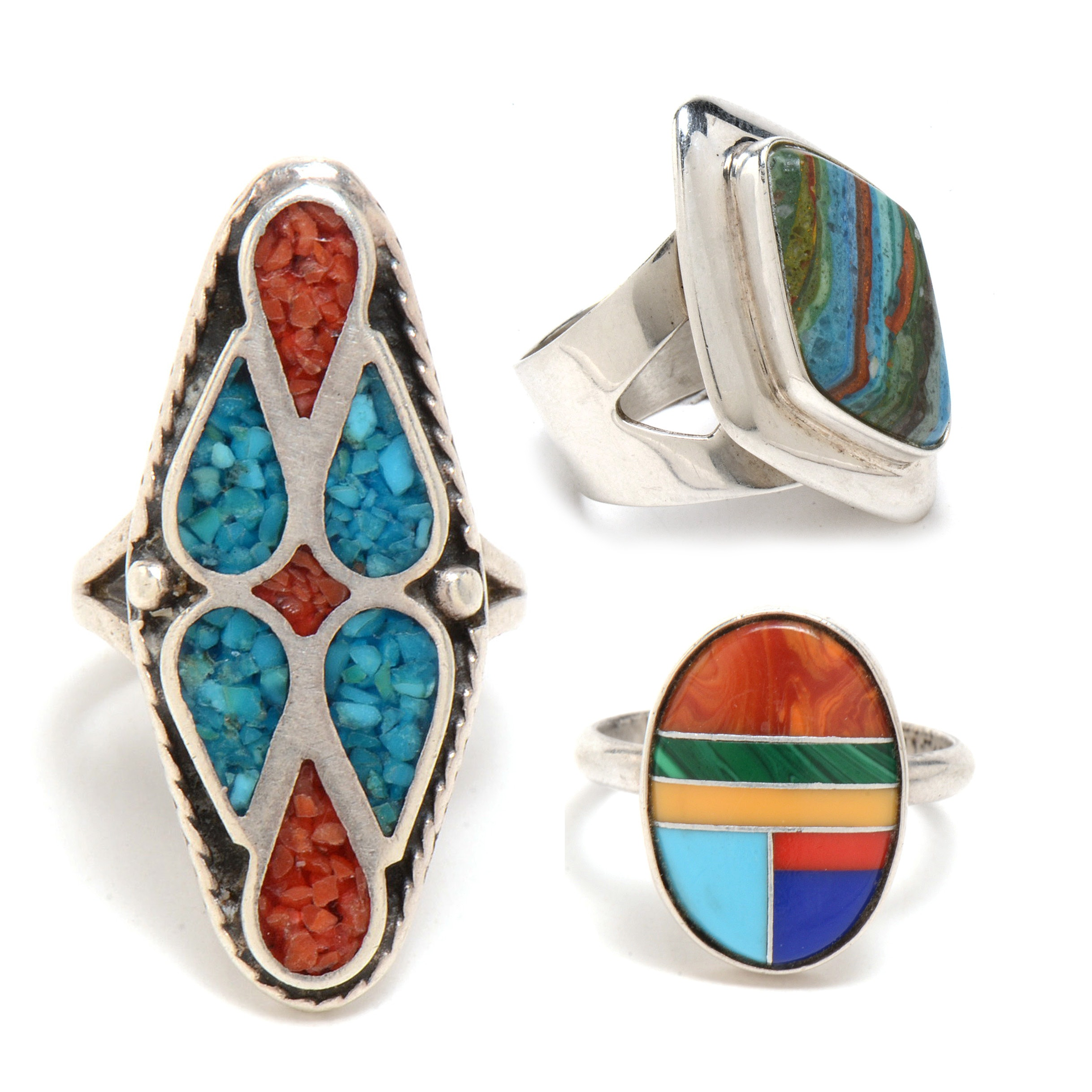 Three Southwestern Style Sterling Silver Rings