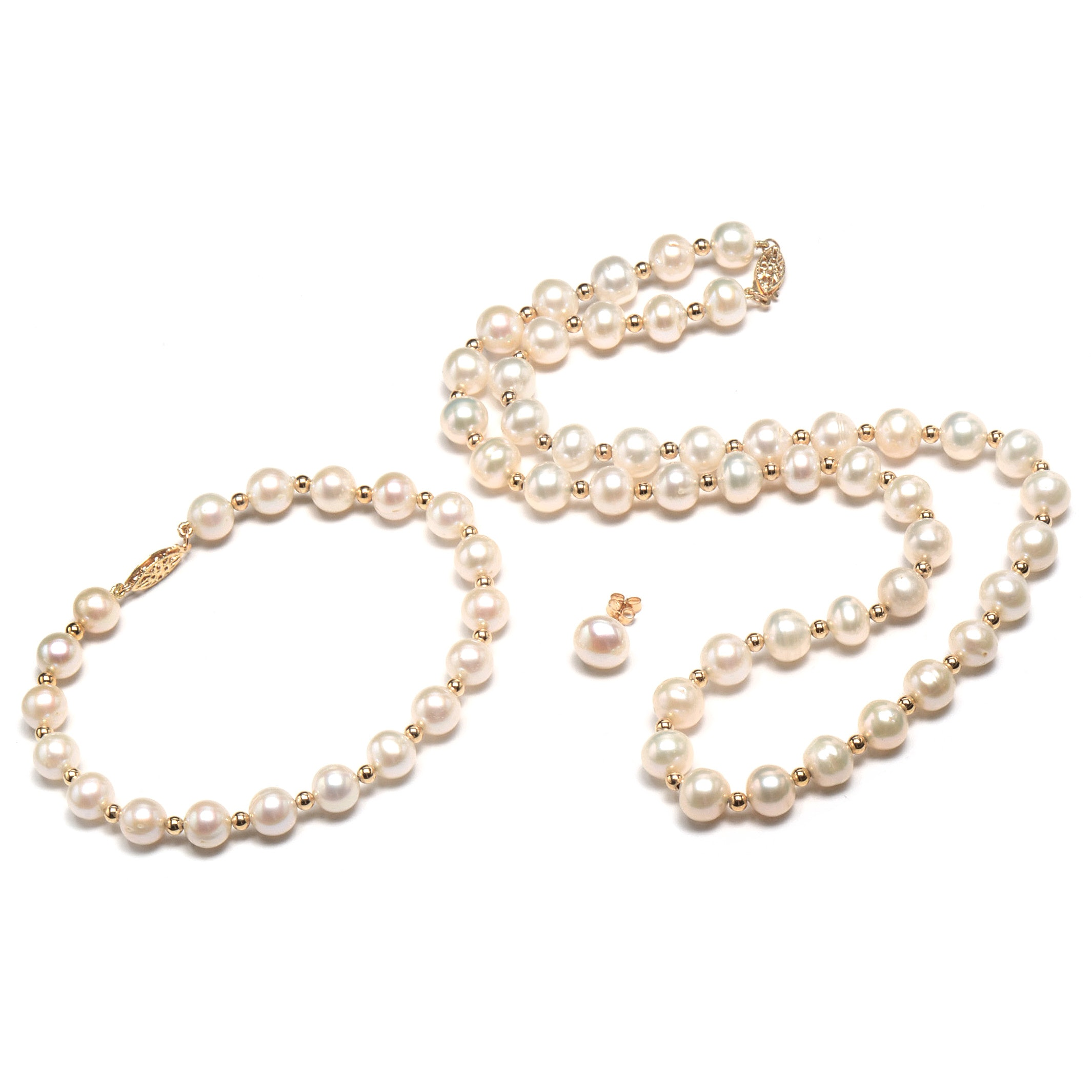 14K Yellow Gold Cultured Freshwater Pearl Three-Piece Set