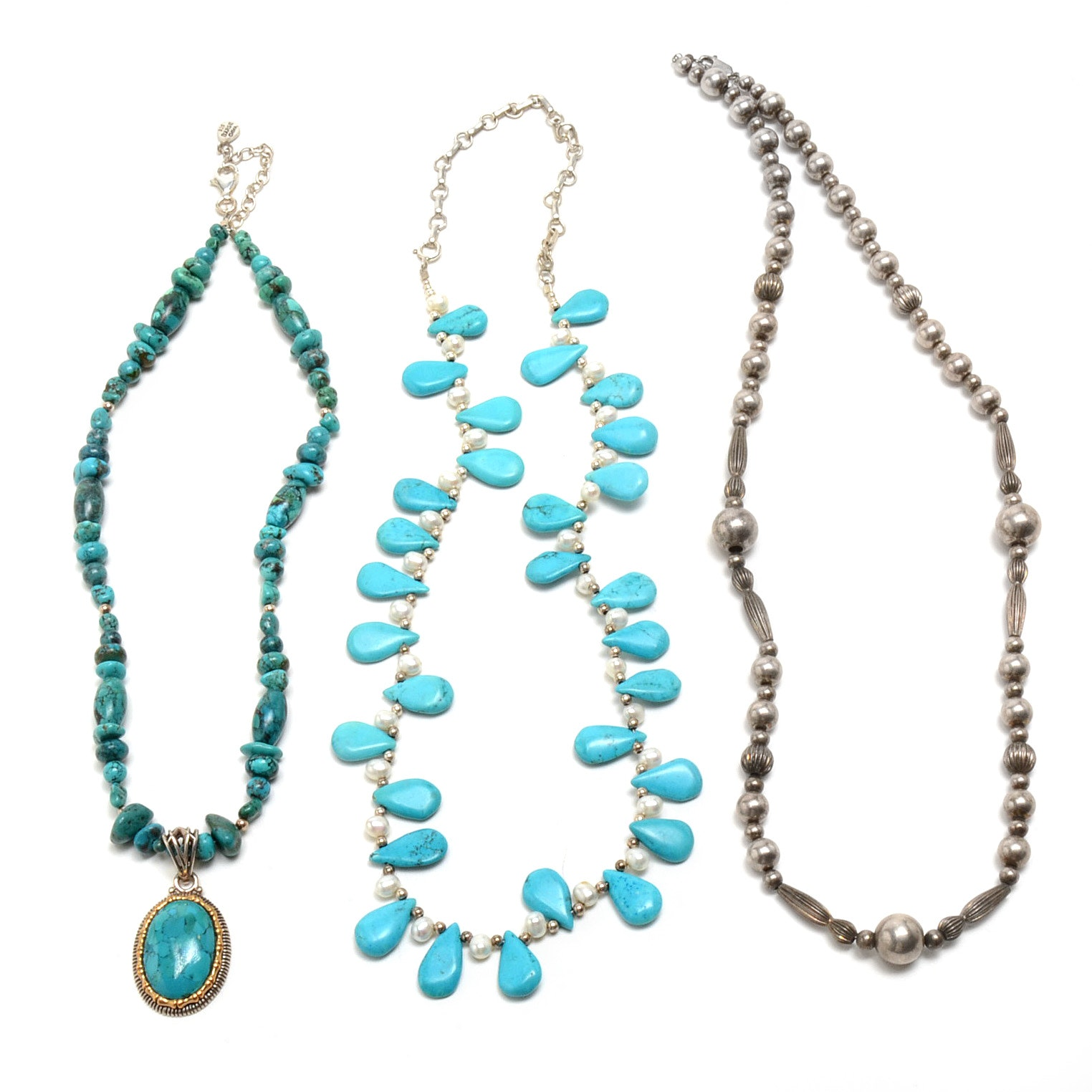 Three Sterling Silver Necklaces Including Pearls and Turquoise