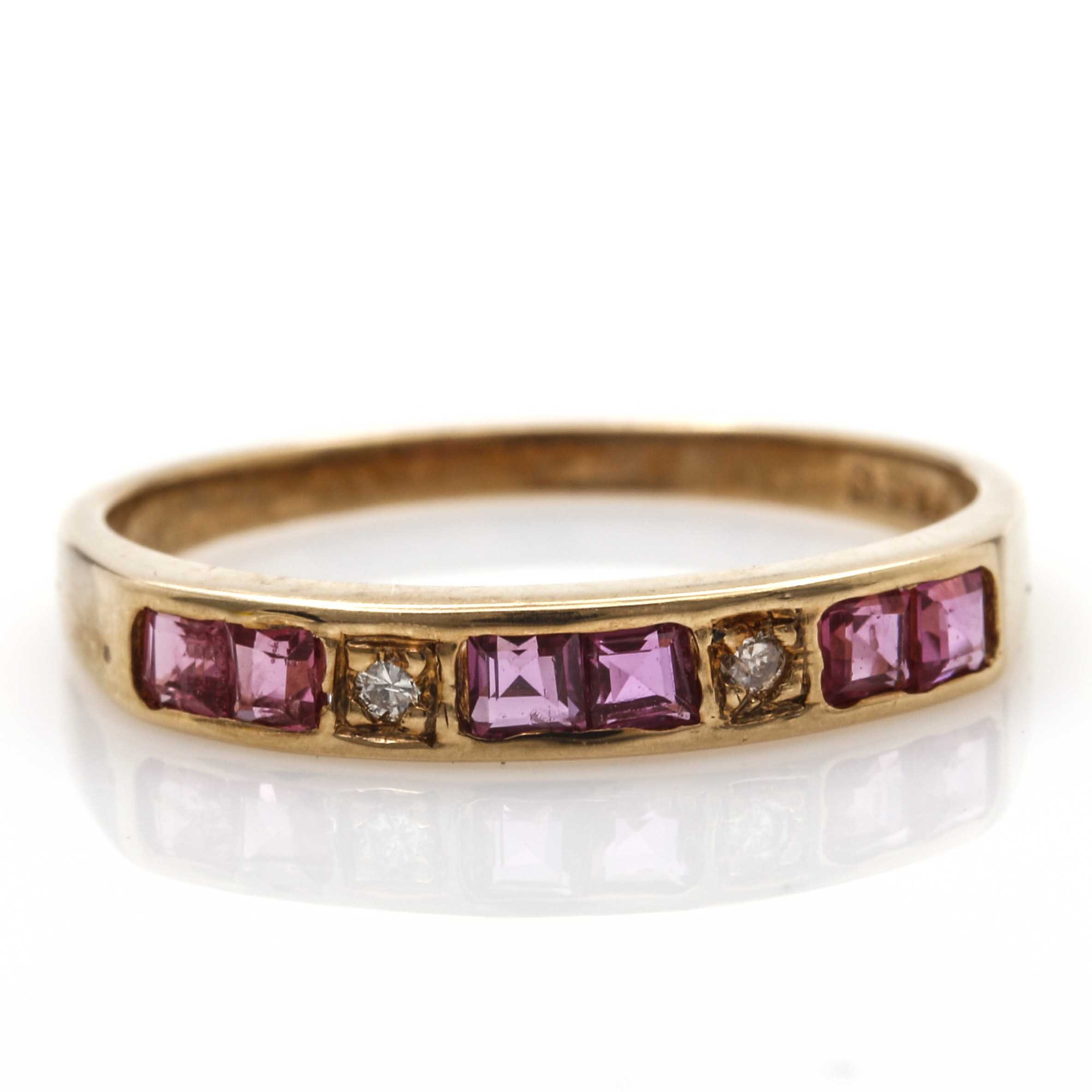 14K Yellow Gold Pink Sapphire and Diamond Band