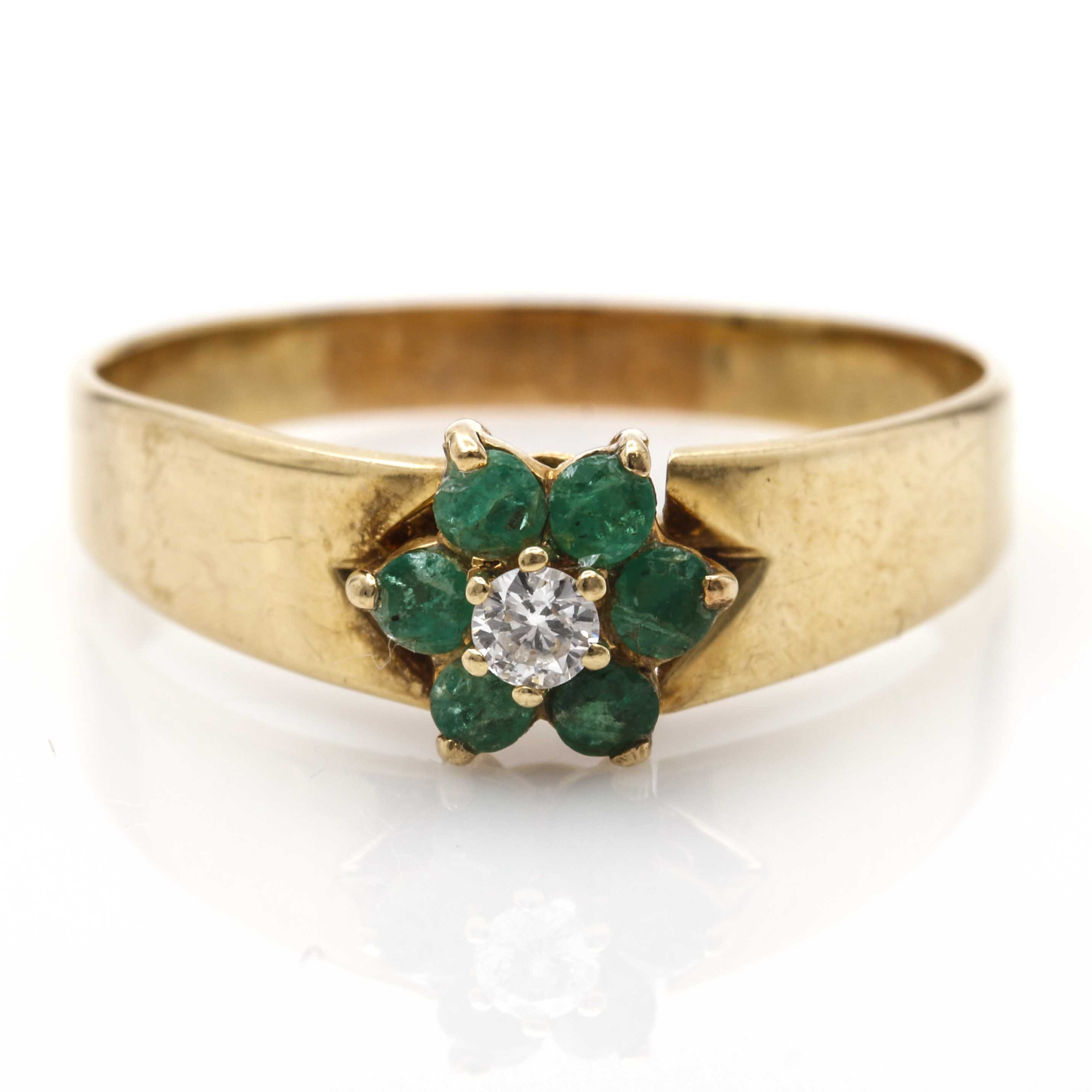 14K Yellow Gold Emerald and Diamond Floral Ring