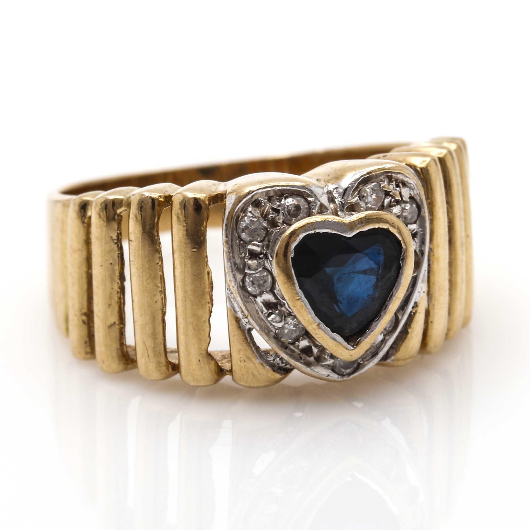 18K Yellow Gold Sapphire and Diamond Heart Ring