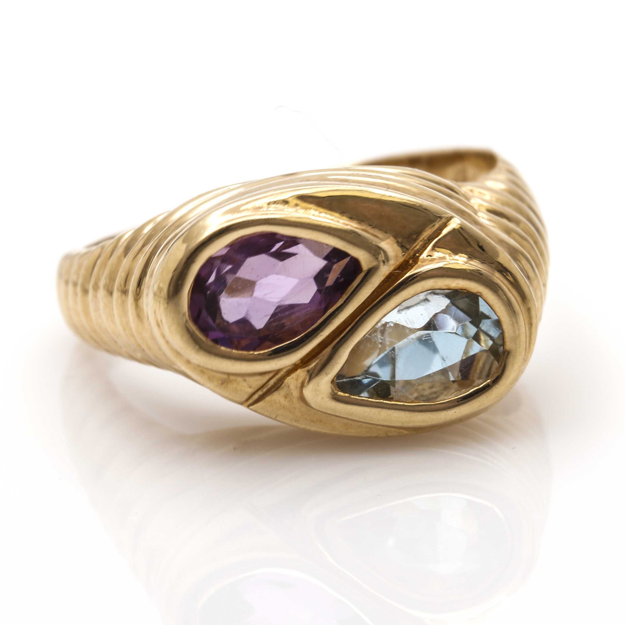 14K Yellow Gold Amethyst and Blue Topaz Ring