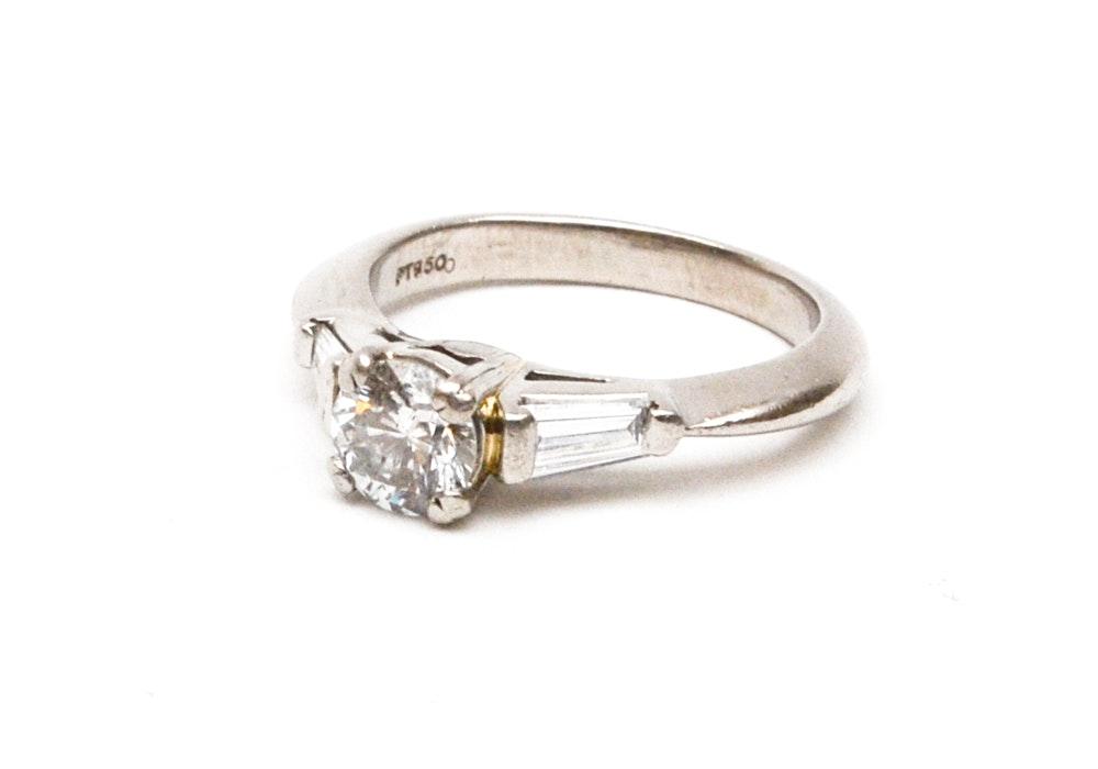 Platinum Three Stone Diamond Engagement Ring