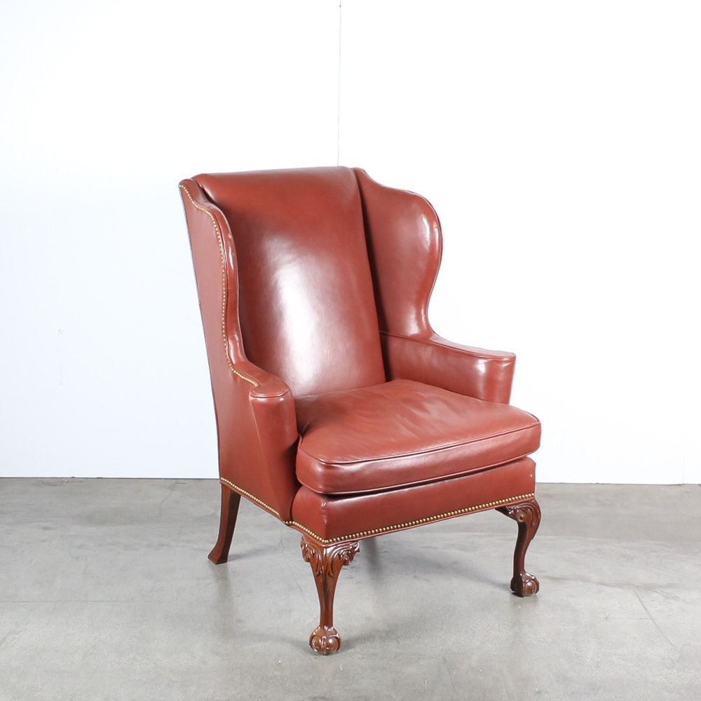 Leather Wing Back Chair by Southwood