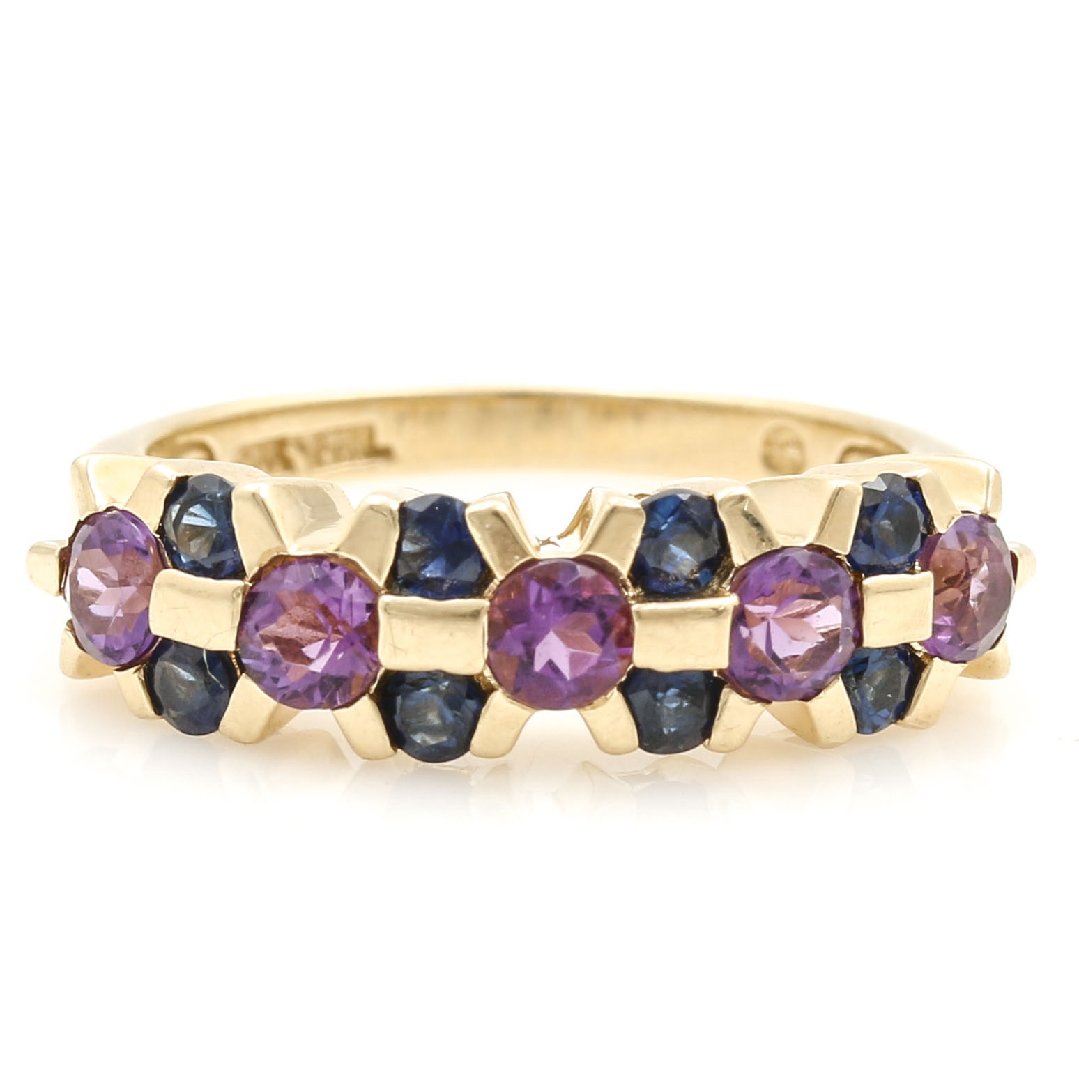 10K Yellow Gold Blue Sapphire and Amethyst Ring