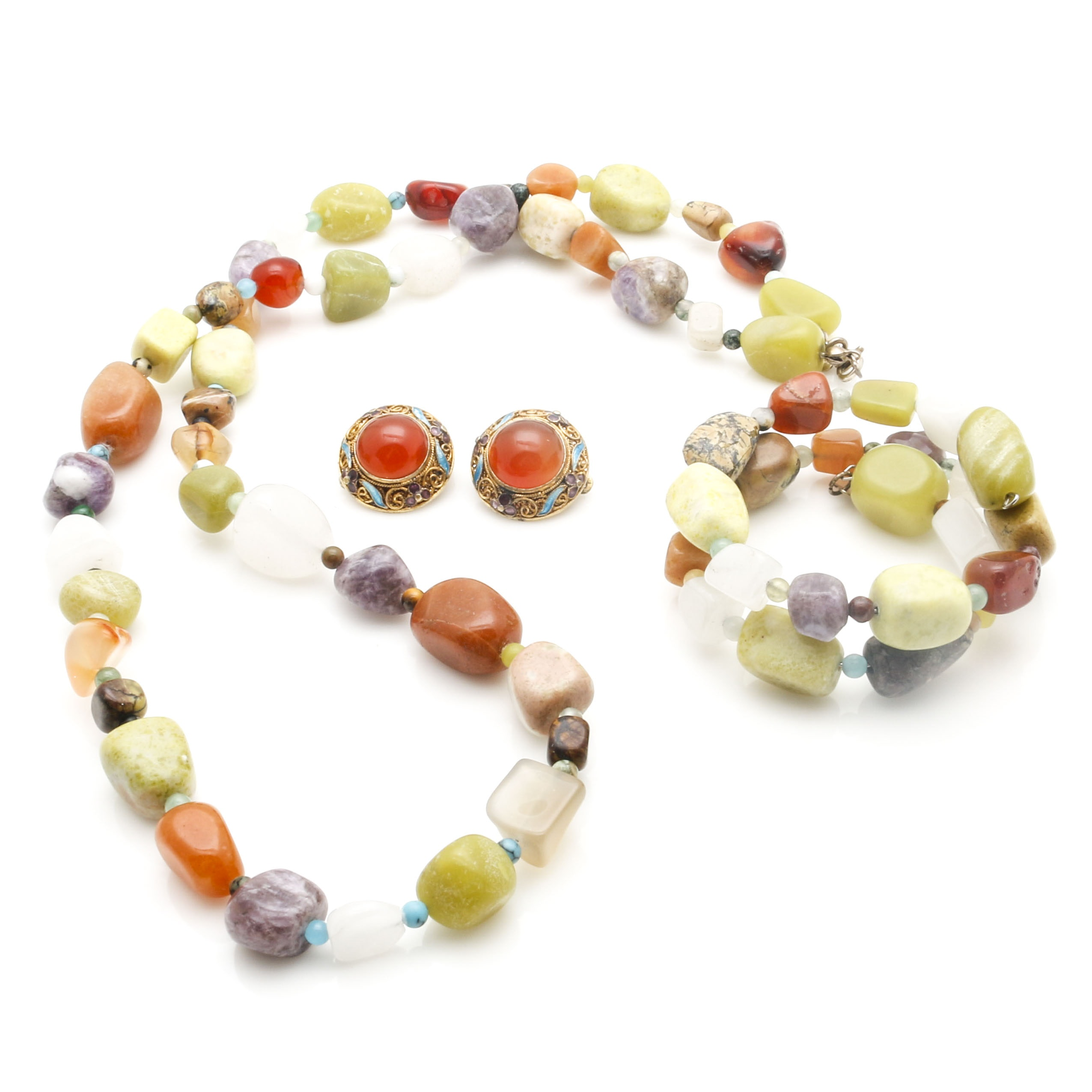 Matching Beaded Necklace and Bracelet Set With Sterling Silver Enamel Earrings