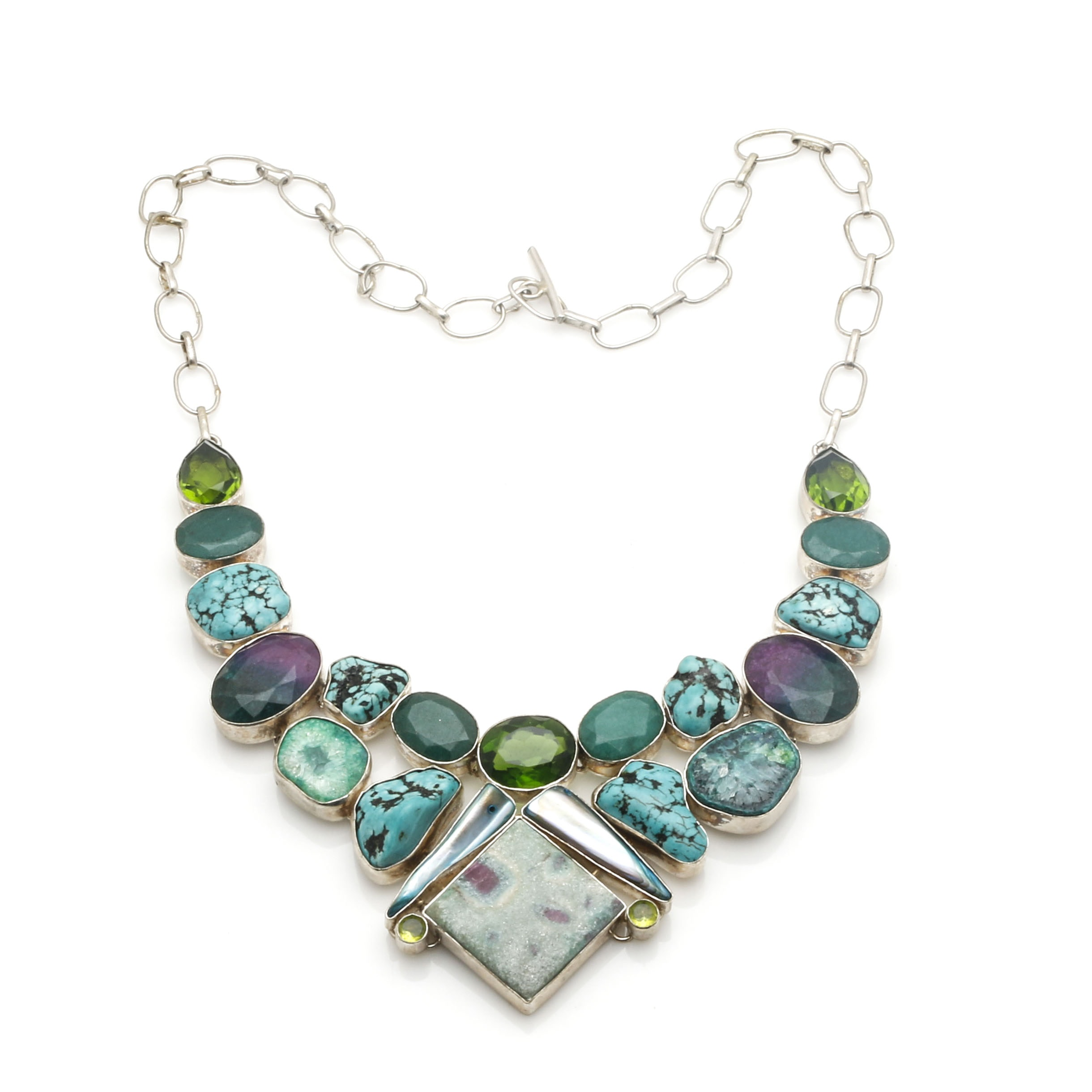 Sterling Silver Turquoise and Gemstone Statement Necklace