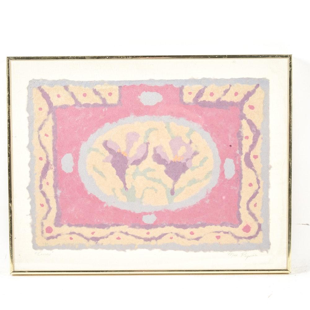 """Original Mae Papier Mixed Media Artwork """"Crocus"""""""