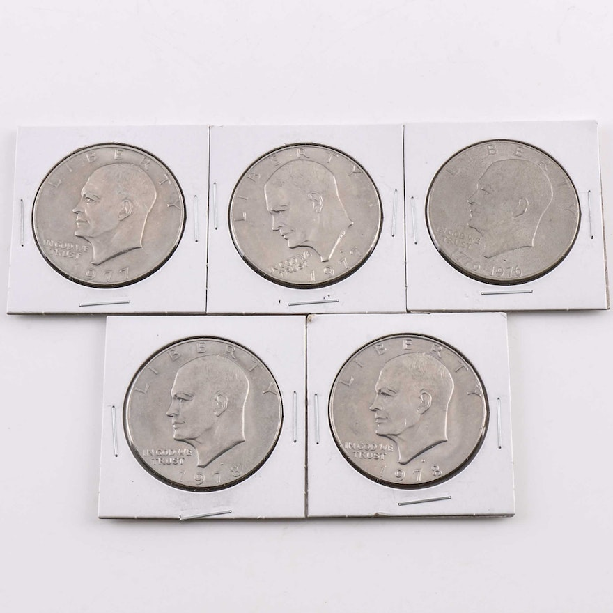 Five Eisenhower Dollars