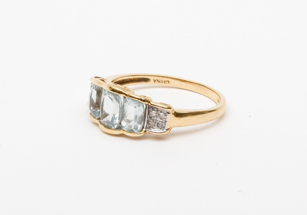 14K Gold Ring with Diamonds and Aquamarines