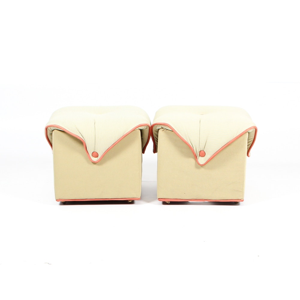 Pair of Whimsical Button Tufted Ottomans